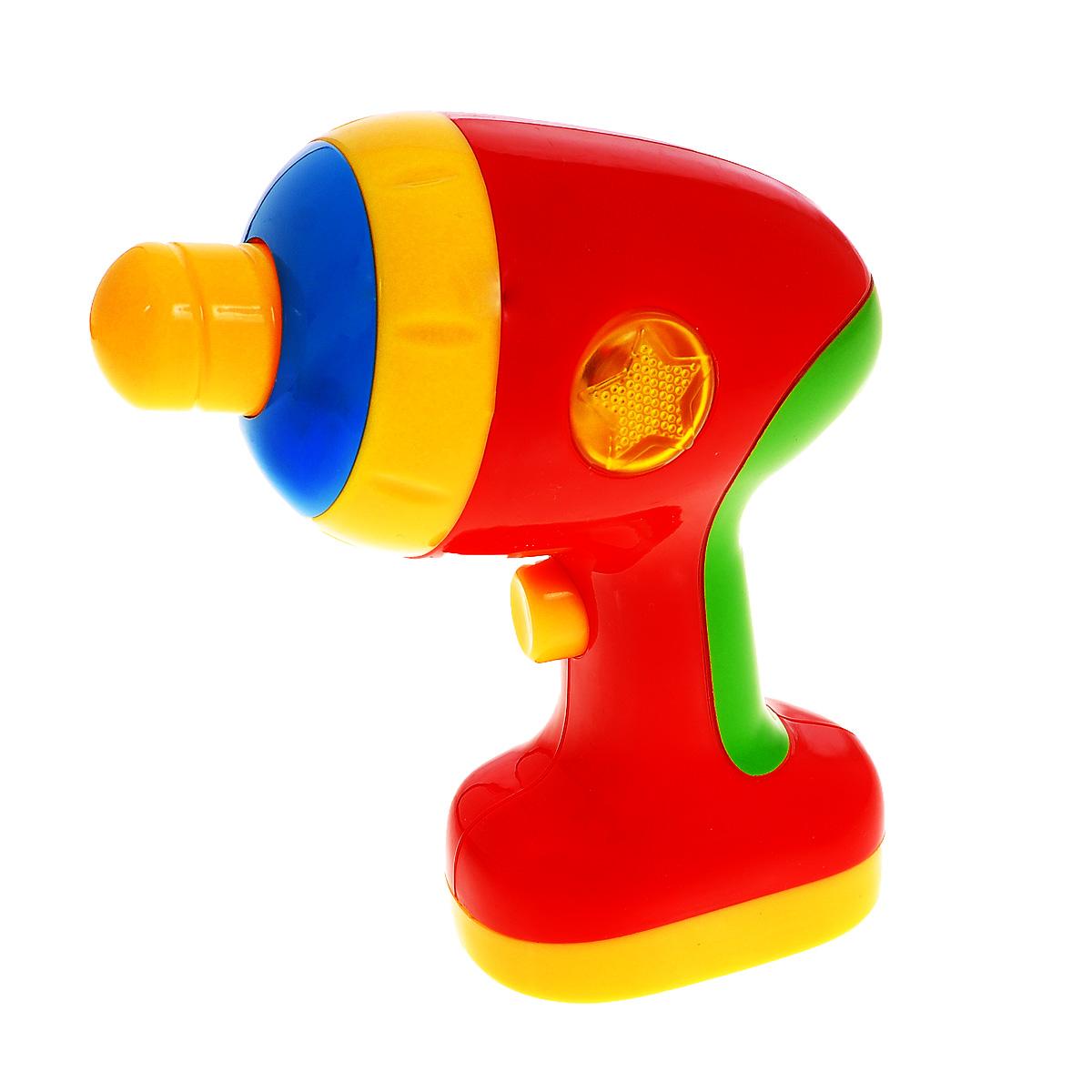 Музыкальная игрушка Малышарики Дрель, со звуковыми эффектамиMSH0303-008Музыкальная игрушка Малышарики Дрель - это не только веселая, но и полезная игрушка для малыша, которая не позволит ему скучать. С такой игрушкой малыш сможет познакомиться с миром звуков, а благодаря ярким световым и звуковым эффектам, игра будет еще интереснее. Игрушка выполнена из безопасного прочного пластика ярких цветов в виде дрели. При нажатии на кнопку включения, расположенную на ручке дрели, сверло начнет вращаться, зазвучит веселая мелодия и загорятся огоньки на корпусе игрушки. Игры с такой игрушкой развивают мелкую моторику, концентрацию внимания, творческие способности, слуховое восприятие и координацию движений малыша. Необходимо докупить 2 батарейки напряжением 1,5V типа ААА (в комплект не входят).