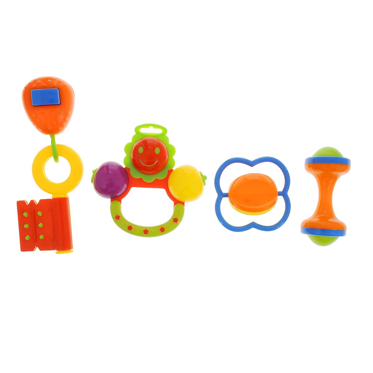 Набор погремушек Малышарики, 4 штMSH0302-003Погремушки Малышарики выполнены из безопасных материалов в ярком дизайне. Яркая и звонкая погремушка является первой игрушкой малыша, которая дарит ему радость и помогает знакомится с окружающим миром. Набор состоит из четырех погремушек, каждая из которых имеет свои особенности: звонкая ромашка, ключик с пищалкой, погремушка с крутящимся шариком и маленькая погремушка в форме гантельки, удобная для ручки малыша. Погремушки Малышарики помогут крохе научиться фокусировать внимание, развивают мелкую моторику и слуховое восприятие малыша. Рекомендуемый возраст: 0-1 год.