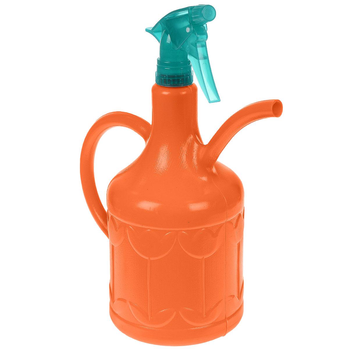 Лейка-опрыскиватель Кострома пластик Тюльпан, цвет: оранжевый, 1,8 л4607016671093_оранжевыйЛейка-опрыскиватель Тюльпан выполнена из высококачественного пластика и оформлена рельефным цветочным рисунком. Ее можно использовать для полива, так как она оснащена носиком и удобной ручкой. Также изделие снабжено распылителем для опрыскивания растений.