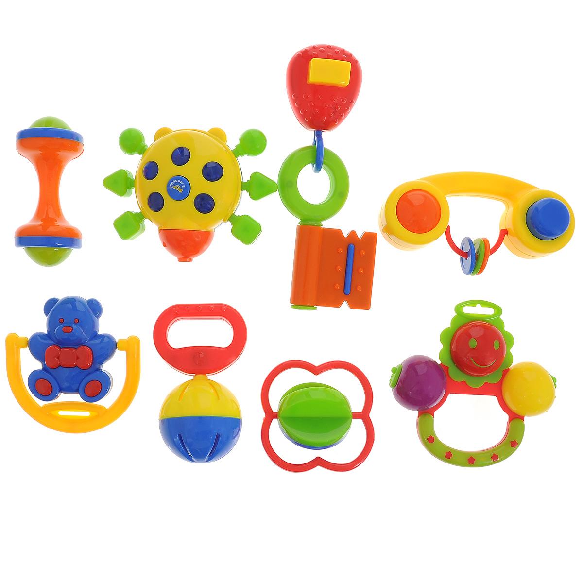 Набор погремушек Малышарики, 8 штMSH0302-004Погремушки Малышарики выполнены из безопасных материалов в ярком дизайне. Яркая и звонкая погремушка является первой игрушкой малыша, которая дарит ему радость и помогает знакомится с окружающим миром. Набор состоит из восьми погремушек, каждая из которых имеет свои особенности: погремушка с шариком, звонкая ромашка, ключик с пищалкой, музыкальный жучок, вращающийся медвежонок, погремушка-пищалка, погремушка с крутящимся шариком и погремушка в форме маленькой гантельки. Погремушки Малышарики помогут крохе научиться фокусировать внимание, развивают мелкую моторику и слуховое восприятие малыша. Рекомендуемый возраст: 0-1 год. Уважаемые клиенты! Обращаем ваше внимание на возможные изменения в дизайне некоторых деталей товара. Поставка осуществляется в зависимости от наличия на складе.