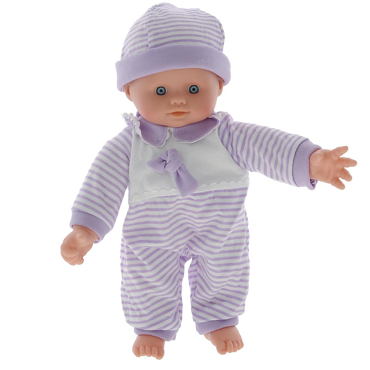 Simba Пупс озвученный Cutie Doll Laura цвет фиолетовый белый5140245Пупс Simba Cutie Doll Laura непременно приведет в восторг вашу дочурку. Голова, ручки и ножки пупса выполнены из прочного пластика, а тело - мягконабивное. Очаровательная малышка одета в удобный комбинезон, оформленный принтом в полоску, а на голове у нее - чепчик в цвет. При нажатии на животик, игрушка воспроизводит реалистичные звуковые эффекты. Всего пупс воспроизводит 10 разных звуков. Трогательный пупс принесет радость и подарит своей обладательнице мгновения нежных объятий. Игры с куклами способствуют эмоциональному развитию, помогают формировать воображение и художественный вкус, а также разовьют в вашей малышке чувство ответственности и заботы. Великолепное качество исполнения делают эту куколку чудесным подарком к любому празднику. Рекомендуется докупить 3 батарейки типа AG13 (LR44) (товар комплектуется демонстрационными).