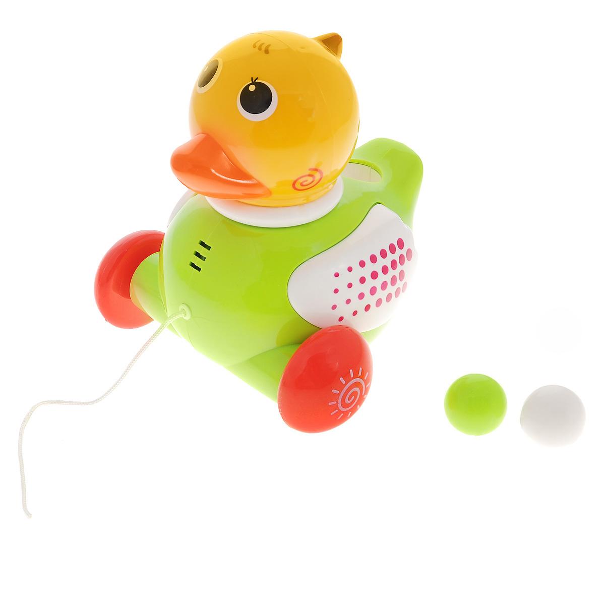 Малышарики Развивающая игрушка Музыкальная уточка цвет салатовыйMSH0303-015Развивающая игрушка Малышарики Музыкальная уточка - это не только веселая, но и полезная игрушка для малыша, которая не позволит ему скучать. С такой игрушкой малыш сможет познакомиться с миром звуков, а благодаря ярким световым и звуковым эффектам, игра будет еще интереснее. Игрушка выполнена из безопасного прочного пластика ярких цветов в виде забавной уточки. В комплект также входит шнурок для уточки и 2 шарика-яйца. Опустите шарик в специальное отверстие на корпусе игрушки, и она издаст забавный звук. Также малыш может катать уточку за собой - игрушка будет забавно качать головой, крякать и проигрывать веселую мелодию. Игры с такой игрушкой развивают мелкую моторику, концентрацию внимания, творческие способности, слуховое восприятие и координацию движений малыша. Необходимо докупить 2 батарейки напряжением 1,5V типа АА (в комплект не входят).