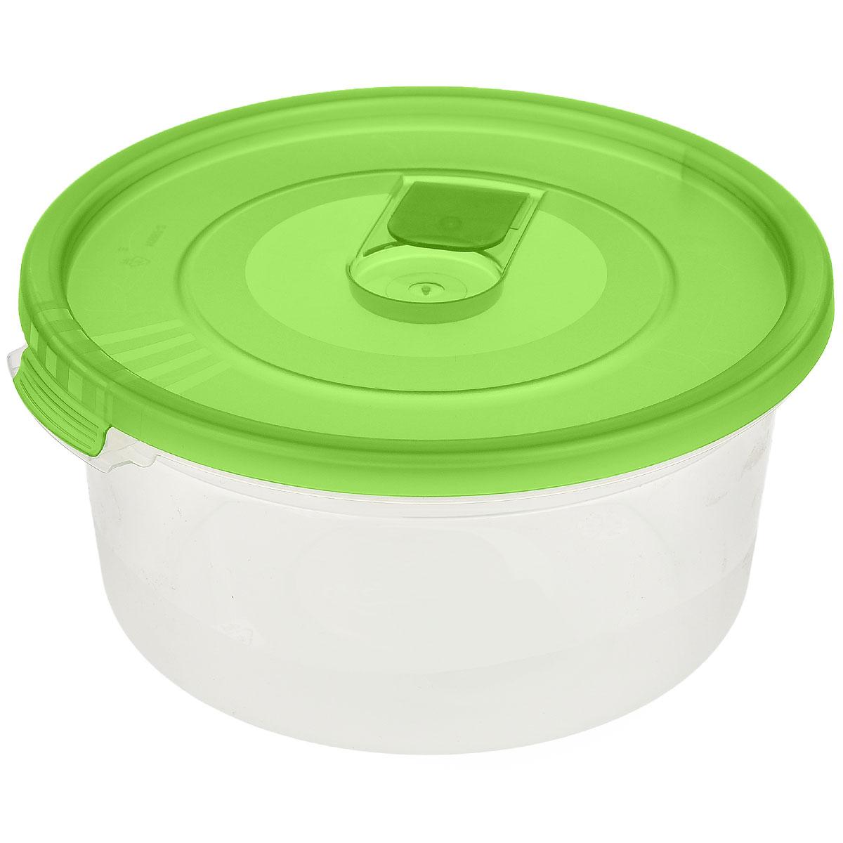 Контейнер Полимербыт Смайл, цвет: прозрачный, зеленый, 800 млС521_зеленыйКонтейнер Полимербыт Смайл круглой формы, изготовленный из прочного пластика, специально предназначен для хранения пищевых продуктов. Контейнер оснащен герметичной крышкой со специальным клапаном, благодаря которому внутри создается вакуум и продукты дольше сохраняют свежесть и аромат. Крышка легко открывается и плотно закрывается. Стенки контейнера прозрачные - хорошо видно, что внутри. Контейнер устойчив к воздействию масел и жиров, легко моется. Контейнер имеет возможность хранения продуктов глубокой заморозки, обладает высокой прочностью. Можно мыть в посудомоечной машине. Подходит для использования в микроволновых печах. Диаметр: 15 см. Высота (без крышки): 7 см.
