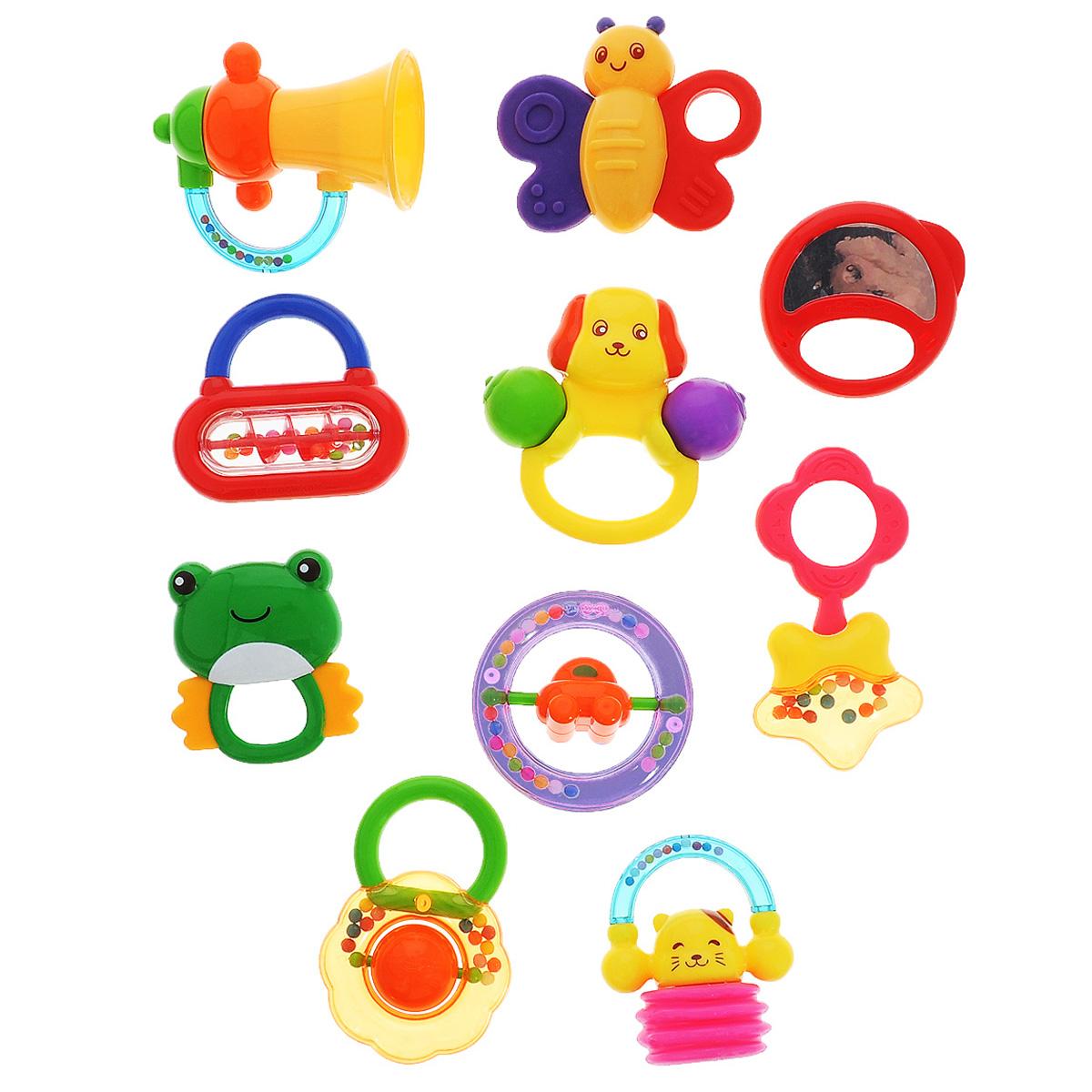 Набор игрушек-погремушек Малышарики, 10 штMSH0302-027С первых месяцев жизни малыш начинает интересоваться яркими, подвижными, звонкими предметами, ведь они являются его главными помощниками в изучении нашего удивительного мира. Набор Малышарики содержит целых 10 игрушек-погремушек, издающих забавные гремящие звуки, и создан специально для малышей, которые только начинают познавать окружающий мир. Погремушки специально разработаны, чтобы стимулировать чувства и развивать моторные навыки даже самых маленьких детей. Изготовлены погремушки из современных и гипоаллергенных материалов, и помогут вашему крохе научиться фокусировать внимание, получить первые представления о категориях формы и цвета, поспособствуют развитию мелкой моторики и сенсорики. Набор содержит 10 погремушек.