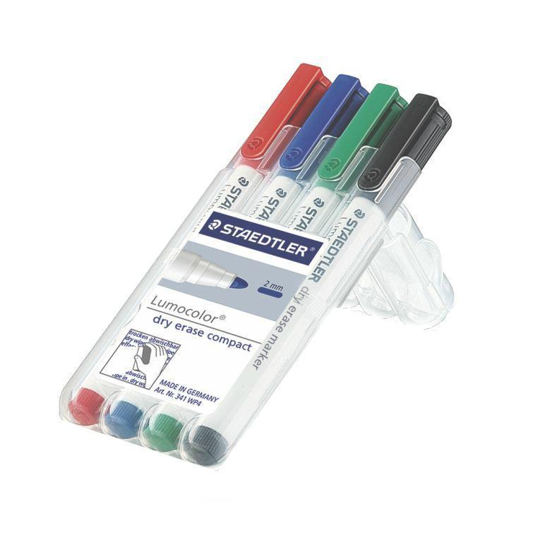 Staedtler Набор маркеров для досок Lumocolor Compact 4 цвета341Набор маркеров Staedtler Lumocolor Compact предназначен для использования с белой магнитно-маркерной доской. Благодаря защите от высыхания, они могут находиться с открытым колпачком в течение нескольких дней. Написанное маркерами легко удаляется сухим способом практически с любых поверхностей: пластик, стекло, фарфор и так далее. Даже при сильном нажатии пишущий узел остается на месте. Быстросохнущие пигментные чернила практически не имеют запаха. Набор маркеров состоит из 4 разных цветов.