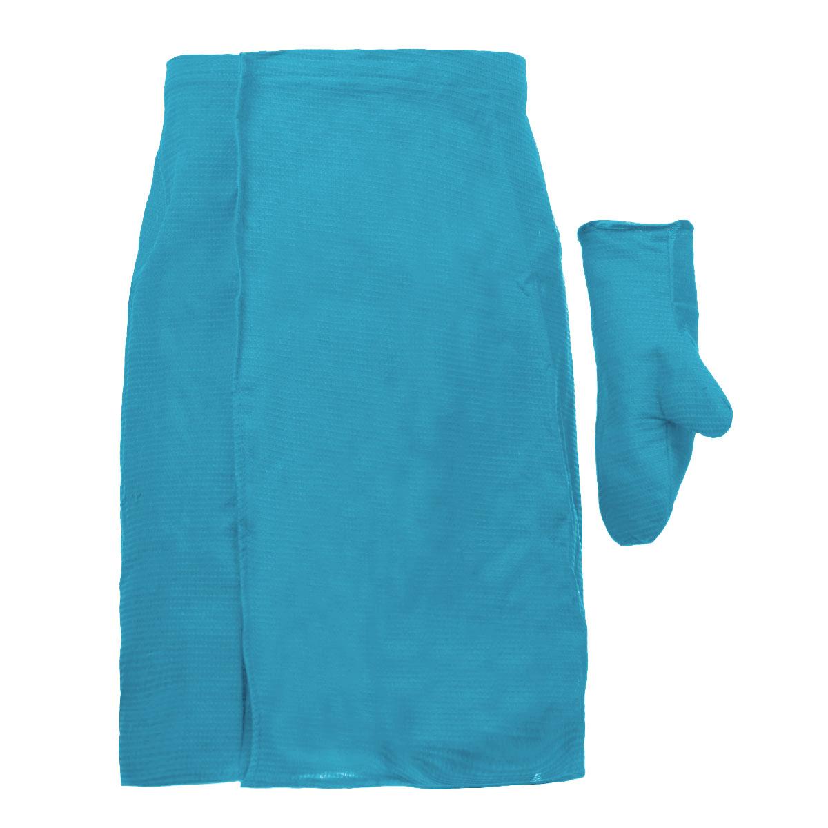 Комплект для бани и сауны Банные штучки, мужской, цвет: голубой, 2 предмета. 3206432064_голубойКомплект для сауны и бани Банные штучки изготовлен из натурального, хорошо впитывающего влагу хлопка. Комплект состоит из однотонной вафельной накидки и рукавицы. Накидка специального кроя снабжена резинкой и застежкой-липучкой. Имеет универсальный размер. В парилке можно лежать на ней, после душа вытираться. Рукавица защитит ваши руки от ожогов, может использоваться для массажа тела. Комплект создан для активных и уверенных в себе людей. Отдых в сауне или бане - это полезный и в последнее время популярный способ времяпровождения. Комплект Банные штучки обеспечит вам комфорт и удобство. Размер накидки: 60 см х 145 см. Размер рукавицы: 27 см х 18,5 см.