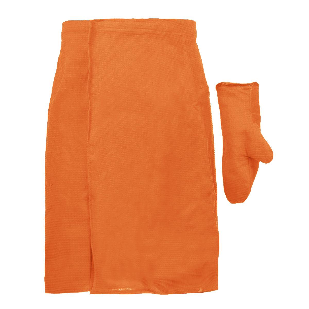 Комплект для бани и сауны Банные штучки, мужской, цвет: оранжевый, 2 предмета. 3206432064_оранжевыйКомплект для сауны и бани Банные штучки изготовлен из натурального, хорошо впитывающего влагу хлопка. Комплект состоит из однотонной вафельной накидки и рукавицы. Накидка специального кроя снабжена резинкой и застежкой-липучкой. Имеет универсальный размер. В парилке можно лежать на ней, после душа вытираться. Рукавица защитит ваши руки от ожогов, может использоваться для массажа тела. Комплект создан для активных и уверенных в себе людей. Отдых в сауне или бане - это полезный и в последнее время популярный способ времяпровождения. Комплект Банные штучки обеспечит вам комфорт и удобство. Размер накидки: 60 см х 145 см. Размер рукавицы: 27 см х 18,5 см.