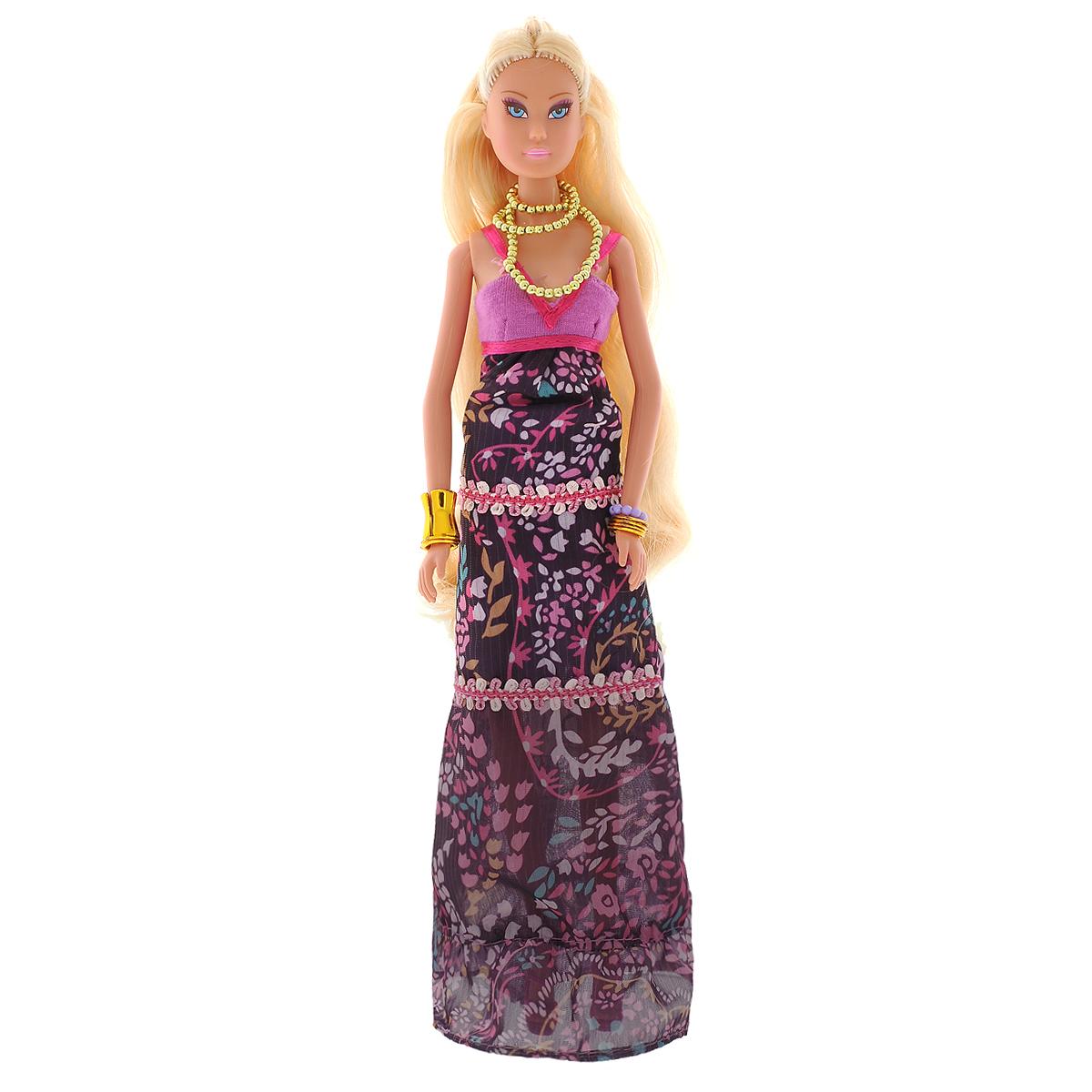 Simba Кукла Steffi Love Supermodel Maxi Dress5737454Кукла Simba Steffi Love. Supermodel: Maxi Dress надолго займет внимание вашей малышки и подарит ей множество счастливых мгновений. Кукла изготовлена из пластика, ее голова, ручки и ножки подвижны, что позволяет придавать ей разнообразные позы. В комплект входит расческа и сумочка для куклы, а также оригинальный браслет для девочки. Куколка одета в стильное длинное платье, оформленное цветочным принтом. Модный образ дополняют золотистые бусы и браслеты. Чудесные длинные волосы куклы так весело расчесывать и создавать из них всевозможные прически, плести косички, жгутики и хвостики. Благодаря играм с куклой, ваша малышка сможет развить фантазию и любознательность, овладеть навыками общения и научиться ответственности, а дополнительные аксессуары сделают игру еще увлекательнее. Порадуйте свою принцессу таким прекрасным подарком!
