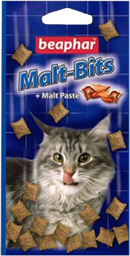 BeapharMalt-Bits подушечки для кошек с мальт-пастой 150 г 300 шт.14467Отличное средство для предупреждения и удаления волосяных комков! Кусочки солода сочетают прекрасный вкус с эффективностью пасты про- тив волосяных комков. Кошки и котята заглатывают шерсть при вылизы- вании. Эта шерсть накапливается в желудочно-кишечном тракте кошки и превращается в волосяные «шары», которые могут влиять на нормальное пищеварение. Сухой кашель, рвота после еды, пучение кишечника и за- пор могут быть симптомами образования таких «шаров». Регулярное по- требление Malt Bits поможет смягчить эту проблему.