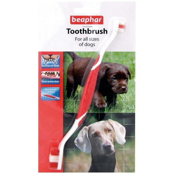 BeapharToothbrush зубная щетка двойная для собак всех размеров45743Двойная зубная щетка Toothbrush подходит для собак всех размеров и пород. Благодаря специальной ручке, щетку удобно держать и она не соскальзывает во время использования. Форма щетинок специально раз- работана по форме зубов собаки, а щетинки разной длины помогают очи- стить все зубы, даже в самых труднодоступных местах. Мягкие и гибкие щетинки не травмируют десны. Зубная щетка Toothbrush – для всех пород собак и кошек. Почему необходимо чистить зубы? Регулярный уход за зубами питом- ца помогает избежать дорогостоящего лечения зубов и десен в будущем и многих проблем со здоровьем животных. Основная причина проблем – это остатки пищи в зубах и сахар, который в ней содержится. Особенно чистка необходима, если вы кормите свою собаку консервами, которые не содержат твердых частиц, как сухой корм. Налет на зубах должен быть своевременно удален, чтобы избежать неприятного запаха, порчи зубов и дальнейшего образования зубного камня. Гигиена полости пасти – это ежедневная процедура, которая...