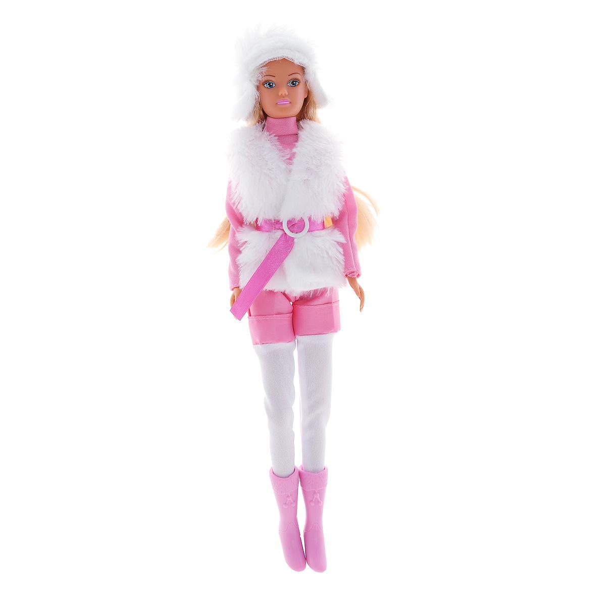 Simba Кукла Штеффи в зимней одежде цвет розовый5733148Кукла Simba Steffi Love. Winter Set надолго займет внимание вашей малышки и подарит ей множество счастливых мгновений. Кукла изготовлена из пластика, ее голова, ручки и ножки подвижны, что позволяет придавать ей разнообразные позы. Красавица Штеффи одета как нельзя лучше для зимней прогулки. На ней теплая меховая жилетка, удобный розовый свитер и длинные брюки. Наряд дополняют розовый ремень и пушистая меховая шапочка. Чудесные длинные волосы куклы так весело расчесывать и создавать из них всевозможные прически, плести косички, жгутики и хвостики. Благодаря играм с куклой, ваша малышка сможет развить фантазию и любознательность, овладеть навыками общения и научиться ответственности, а дополнительные аксессуары сделают игру еще увлекательнее. Порадуйте свою принцессу таким прекрасным подарком!