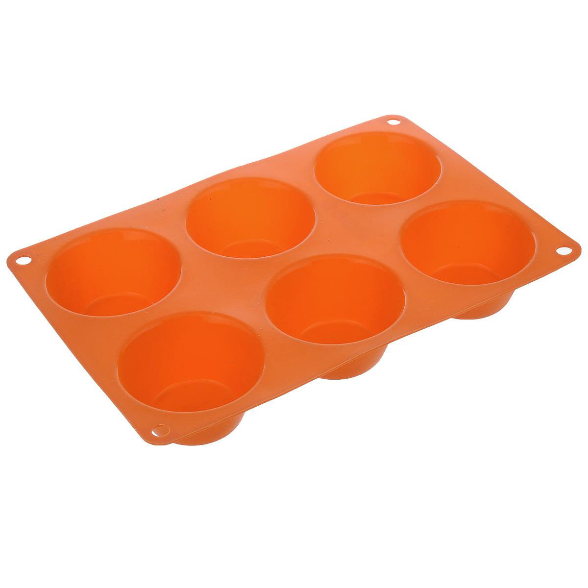 Форма для выпечки маффинов Taller, цвет: оранжевый, 6 ячеекTR-6200_оранжевыйФорма Taller будет отличным выбором для всех любителей выпечки. Благодаря тому, что форма изготовлена из силикона, готовую выпечку или мармелад вынимать легко и просто. Изделие выполнено в форме прямоугольника, внутри которого расположены 6 круглых ячеек. Форма прекрасно подойдет для выпечки маффинов. С такой формой вы всегда сможете порадовать своих близких оригинальной выпечкой. Материал изделия устойчив к фруктовым кислотам, может быть использован в духовках, микроволновых печах, холодильниках и морозильных камерах (выдерживает температуру от -20°C до 220°C). Антипригарные свойства материала позволяют готовить без использования масла. Можно мыть и сушить в посудомоечной машине. При работе с формой используйте кухонный инструмент из силикона - кисти, лопатки, скребки. Не ставьте форму на электрическую конфорку. Не разрезайте выпечку прямо в форме. Количество ячеек: 6 шт. Общий размер формы: 24 см х 16,5 см х 3,5 см. ...