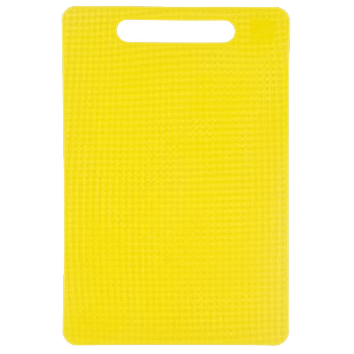 Доска разделочная Kesper, цвет: желтый, 29 см х 19,5 см3047-2Яркая разделочная доска Kesper прекрасно подходит для разделки всех видов пищевых продуктов. Изготовлена из одноцветного прочного пластика. Изделие оснащено отверстием для подвешивания на крючок. Можно мыть в посудомоечной машине.