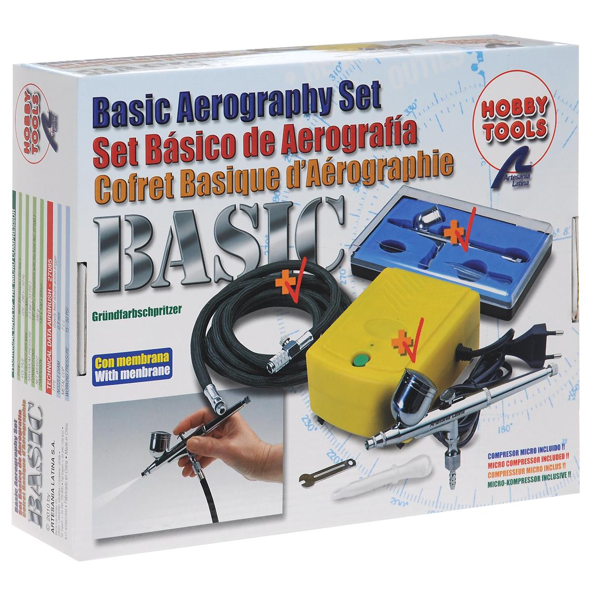 Аэрограф в комплекте (базовый набор)AEROGRAPHYВ набор Artesania Latina Базовый набор входят аэрограф с 0,3 мм сопло, мини- компрессор, резиновый удлинитель, а также необходимые для работы аксессуары. Такой набор идеально подойдет для моделизма, первых шагов в аэрографии, работах на бумаге, полупрофессиональных работ аэрографии на ногтях, make up. Что может быть увлекательнее самостоятельного создания дизайна, подбора цветовых решений вашей модели? Реализовать любые идеи вам поможет аэрограф Artesania Latina Базовый набор. Все предметы наборы компактно расположены в пластиковом чемоданчике, закрывающемся на 2 защелки. Размер чемоданчика: 29 см х 24 см х 7 см.