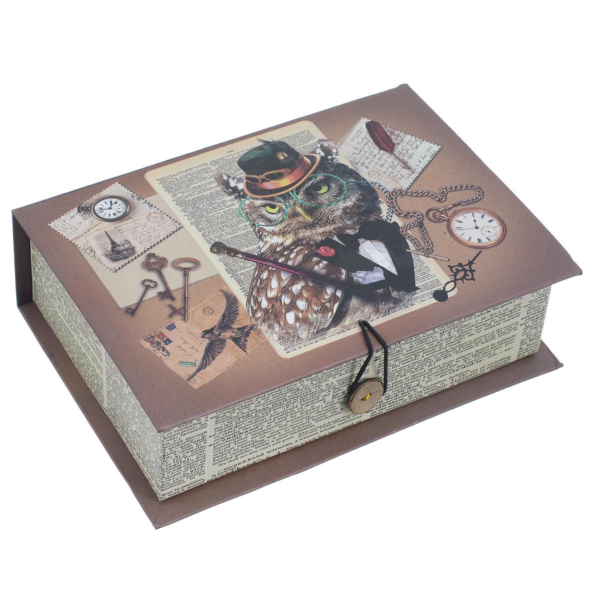 Подарочная коробка Гэтсби, 18 см х 12 см х 5 см39470Подарочная коробка Гэтсби выполнена из плотного картона. Изделие оформлено изображением гламурной совы, часов, ключей. Коробка закрывается на пуговицу. Подарочная коробка - это наилучшее решение, если вы хотите порадовать ваших близких и создать праздничное настроение, ведь подарок, преподнесенный в оригинальной упаковке, всегда будет самым эффектным и запоминающимся. Окружите близких людей вниманием и заботой, вручив презент в нарядном, праздничном оформлении. Плотность картона: 1100 г/м2.