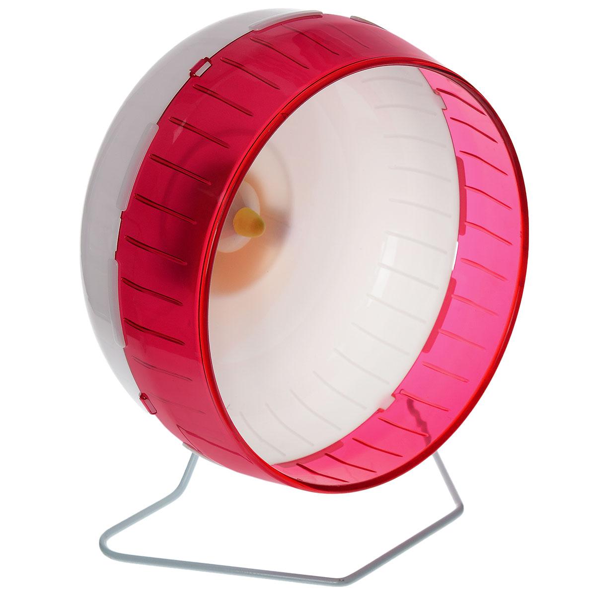Колесо для грызунов I.P.T.S., цвет: белый, малиновый, 29 см285154_малиновыйКолесо для грызунов I.P.T.S. удобно и бесшумно, с высоким уровнем безопасности. Поместив его в клетку, вы обеспечите своему питомцу необходимую физическую активность. Сплошная внутренняя поверхность без щелей убережет питомца от возможных травм. Можно установить на подставку или прикрепить к решетке. Колесо можно использовать для сирийских хомяков, дегу, крыс или молодых шиншилл. Диаметр колеса: 29 см.