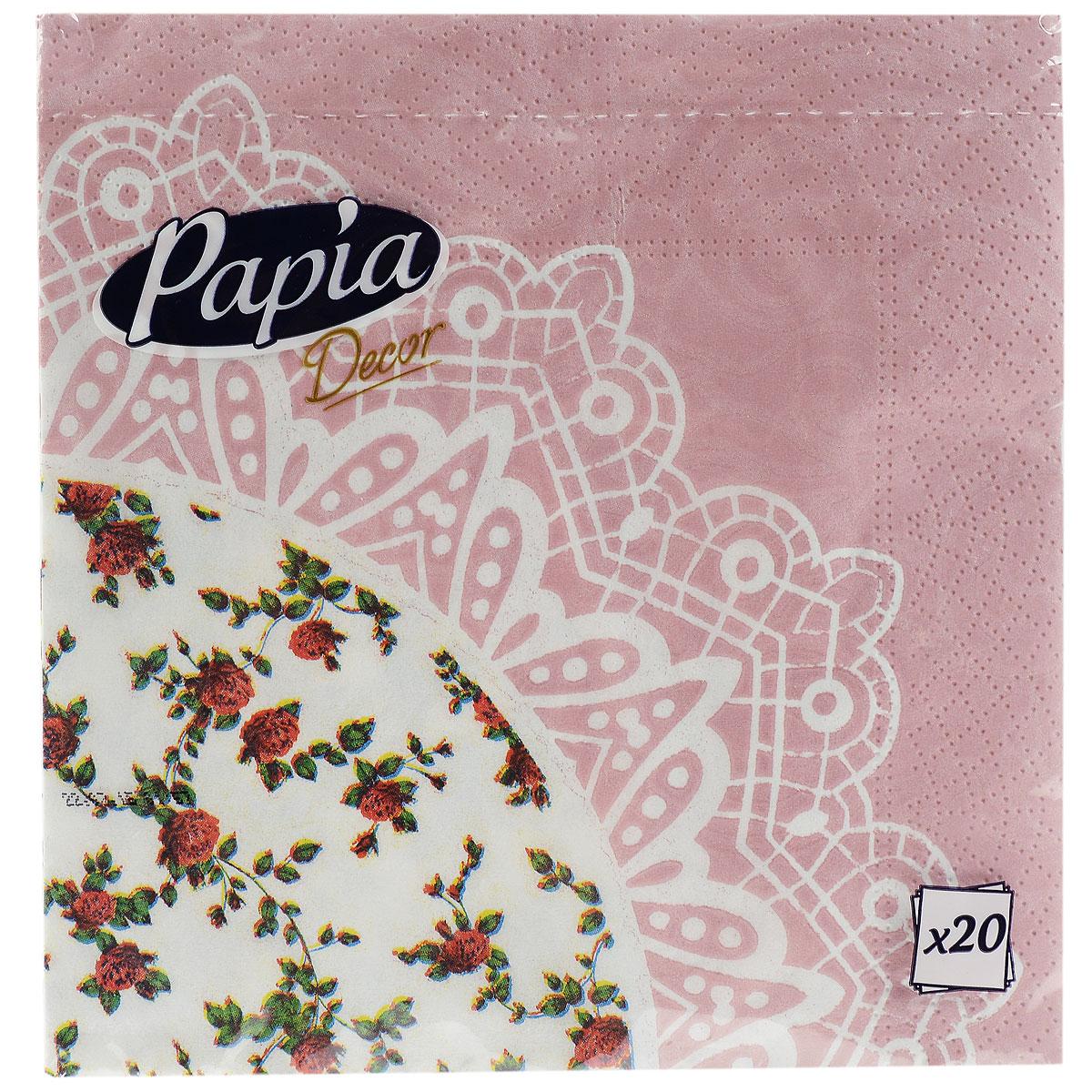 Салфетки бумажные Papia Decor, трехслойные, цвет: белый, розовый, 33 x 33 см, 20 шт15302_цветыТрехслойные салфетки Papia Decor, выполненные из 100% целлюлозы, оформлены красивым цветочным рисунком. Салфетки предназначены для красивой сервировки стола. Оригинальный дизайн салфеток добавит изысканности вашему столу и поднимет настроение. Размер салфеток: 33 см х 33 см.