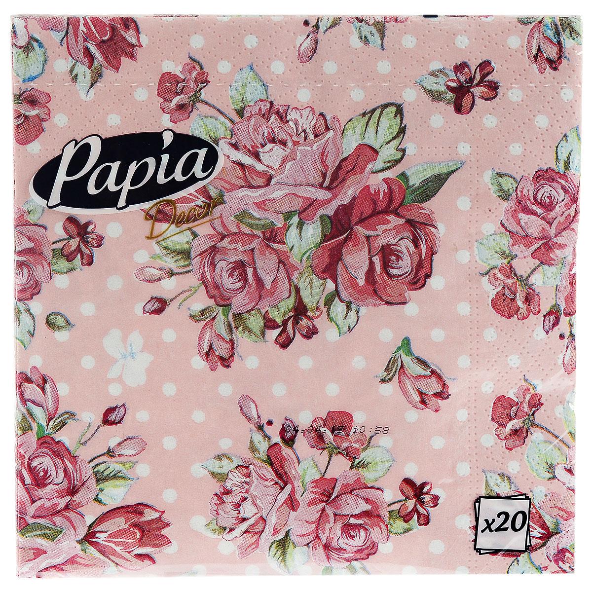 Салфетки бумажные Papia Decor, трехслойные, цвет: розовый, 33 x 33 см, 20 шт15302_розовыйТрехслойные салфетки Papia Decor, выполненные из 100% целлюлозы, оформлены красивым цветочным рисунком. Салфетки предназначены для красивой сервировки стола. Оригинальный дизайн салфеток добавит изысканности вашему столу и поднимет настроение. Размер салфеток: 33 см х 33 см.