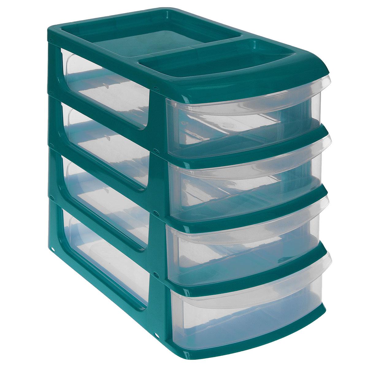 Бокс универсальный Idea, 4 секции, цвет: бирюзовый, прозрачный, 24,5 см х 17,5 см х 27 смМ 2766 бирюзовыйУниверсальный бокс Idea выполнен из высококачественного пластика и имеет четыре удобные выдвижные секции. Бокс предназначен для хранения предметов шитья, рукоделия, хобби и всех необходимых мелочей. Изделие позволит компактно хранить вещи, поддерживая порядок и уют в вашем доме.