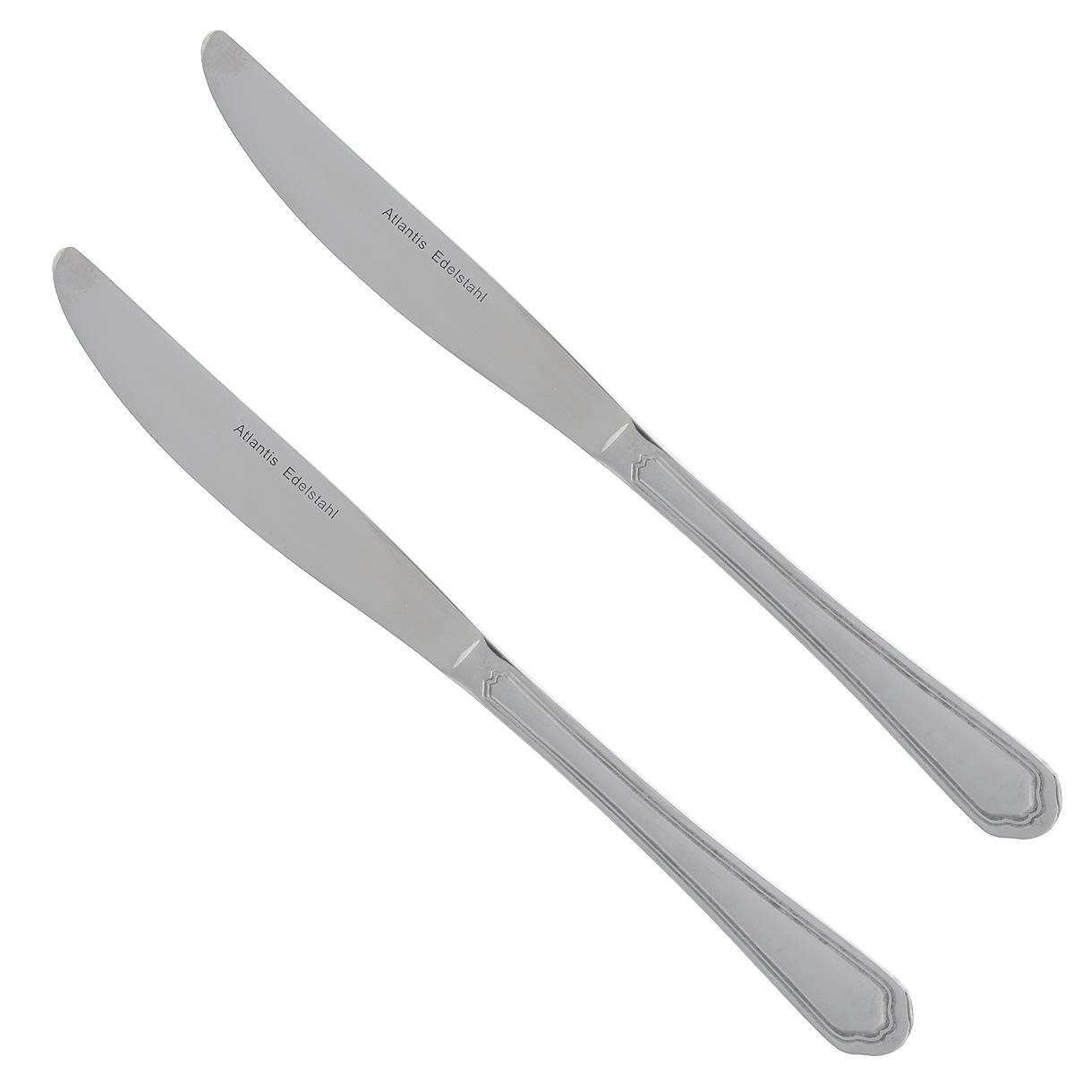 Набор столовых ножей Atlantis Гармония, длина 20 см, 3 шт30024M01-TAL02Набор Atlantis Гармония состоит из трех столовых ножей, выполненных из нержавеющей стали с матовой полировкой. Строгий, лаконичный, но изысканный дизайн набора сделает его украшением обеденного стола. Набор прекрасно подойдет и для торжественных случаев. Длина ножа: 23,5 см. Длина лезвия: 12 см.