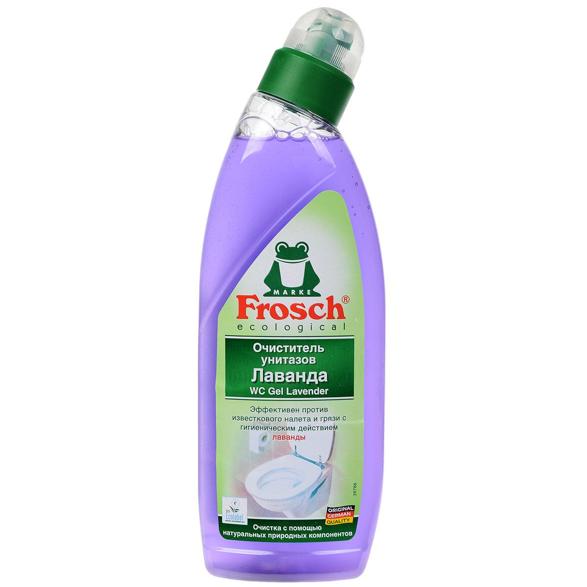 Очиститель для унитазов Frosch, с ароматом лаванды, 750 мл701835Чистящее средство Frosch предназначено для чистки унитазов. Очиститель удаляет естественным образом известь, мочевой камень, грязь с унитаза, благодаря лавандовому экстракту, обладающему гигиеническим действием, и натуральных (фруктовых) кислот. Удобный наклон дозатора позволяет легко наносить гель под кромку унитаза. Очиститель удаляет неприятные запахи и оставляет чистоту и свежий аромат цветков лаванды. Торговая марка Frosch специализируется на выпуске экологически чистой бытовой химии. Для изготовления своей продукции Frosch использует натуральные природные компоненты. Ассортимент содержит все необходимое для бережного ухода за домом и вещами. Продукция эффективно удаляет загрязнения, оберегает кожу рук и безопасна для окружающей среды. Товар сертифицирован. Состав: менее 5% анионные ПАВ, ароматизирующие добавки, лавандовое масло, лимонная кислота, загустители, косметические красители. Объем: 750 мл.
