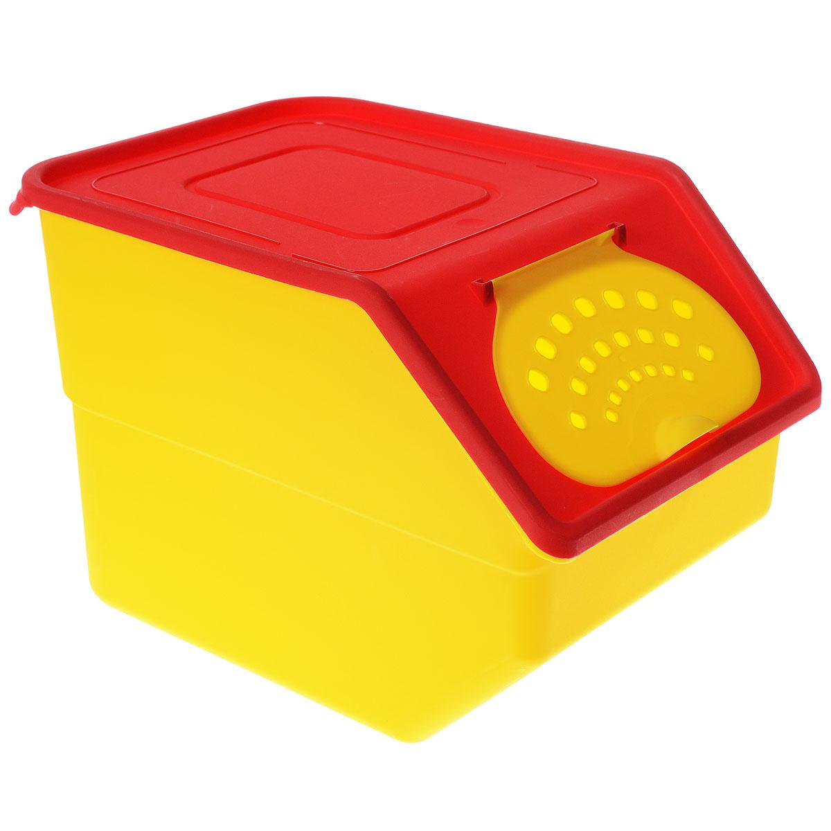 Контейнер для овощей Полимербыт Кухня, цвет: желтый, красный, 11,2 лС82133_желтый/красныйПластиковый контейнер для овощей Полимербыт Кухня изготовлен таким образом, что позволяет овощам и фруктам дышать, обеспечивая их длительную свежесть. Изделие легкое и компактное, в то же время вместительное, прекрасно впишется в пространство вашей кухни.
