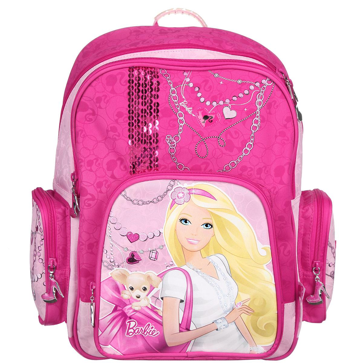 Рюкзак школьный Barbie, цвет: малиновый, светло-розовый. BRDLR-12T-9621BRDLR-12T-9621Школьный рюкзак Barbie привлечет внимание вашей школьницы. Выполнен из прочного, износостойкого материала и оформлен изображением куклы Барби.  Содержит два вместительных отделения, закрывающиеся на застежки-молнии. В большом отделении находятся две перегородки для тетрадей или учебников. Дно рюкзака можно сделать жестким, разложив специальную панель с пластиковой вставкой, что повышает сохранность содержимого рюкзака и способствует правильному распределению нагрузки. В другом отделении имеется открытый карман-сетка. Лицевая сторона оснащена накладным карманом на молнии. По бокам расположены два накладных кармана также на молнии. Спинка рюкзака выполнена с использованием высокотехнологичного упругого материала и специально расположенных эргономических элементов с воздухообменной сеткой, служащих для правильного и безопасного распределения нагрузки на спину ребенка. Лямки рюкзака специальной S-образной формы с поролоном и воздухообменной сеткой регулируются по длине. Данные...