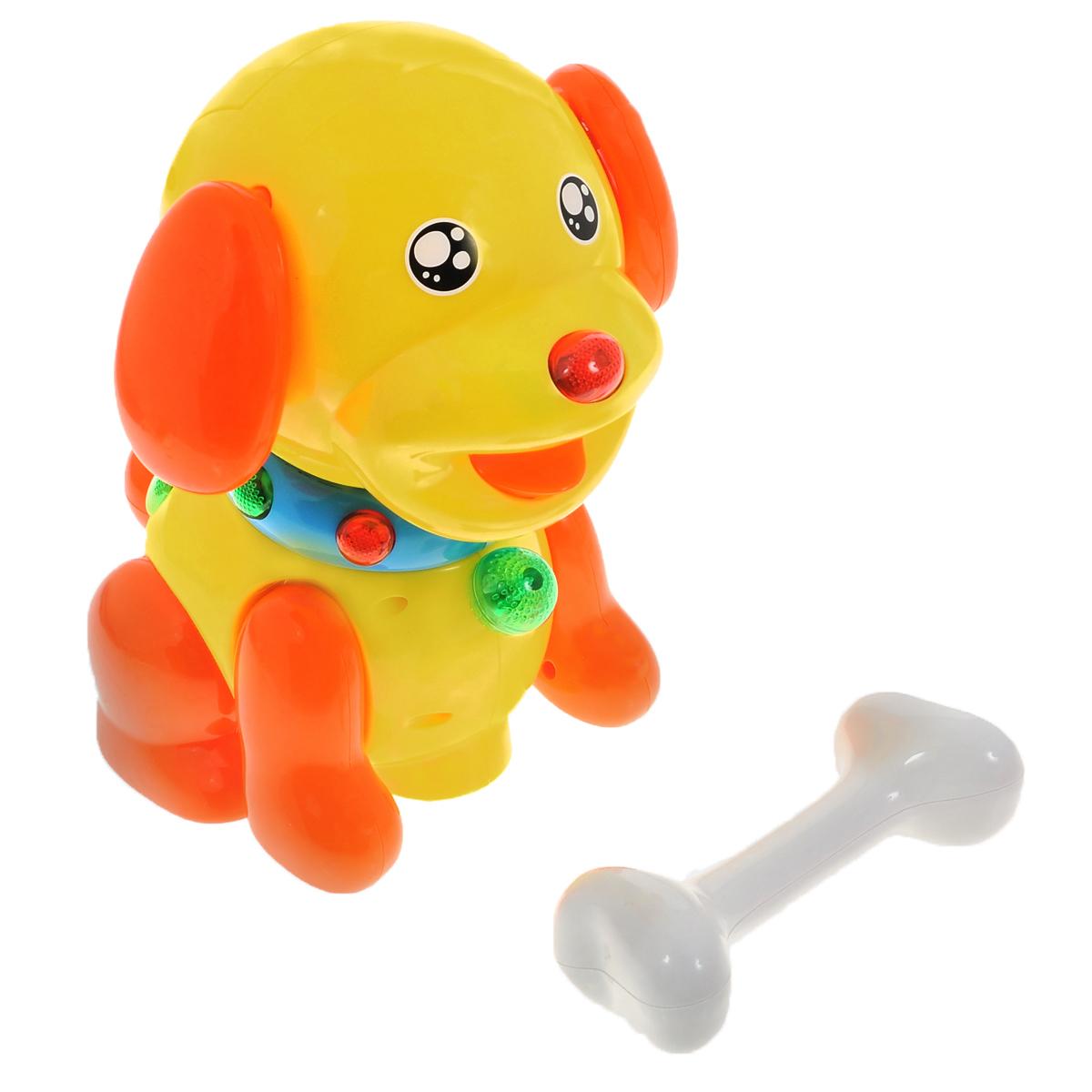 Интерактивная игрушка Малышарики Щенок БаддиMSH0303-007Интерактивная игрушка Малышарики Щенок Бадди выполнена из безопасных материалов в ярком дизайне. Игрушка в виде забавного щенка по имени Бадди станет верным другом вашему малышу. Когда Бадди держит косточку, он начинает лаять и кружиться под веселую музыку, а если косточку забрать, то щенок остановится. Во время танца щенок шевелит ушами и передними лапами, а на спинке и ошейнике горят разноцветные огоньки. При столкновении с препятствием щенок меняет направление движения. Интерактивная игрушка Щенок Бадди поможет малышу ближе познакомиться с миром звуков, а также развивает логическое мышление, воображение и концентрацию внимания. Рекомендуемый возраст: 1-3 года. Для работы игрушки необходимы 4 батарейки напряжением 1,5V типа АА (не входят в комплект).