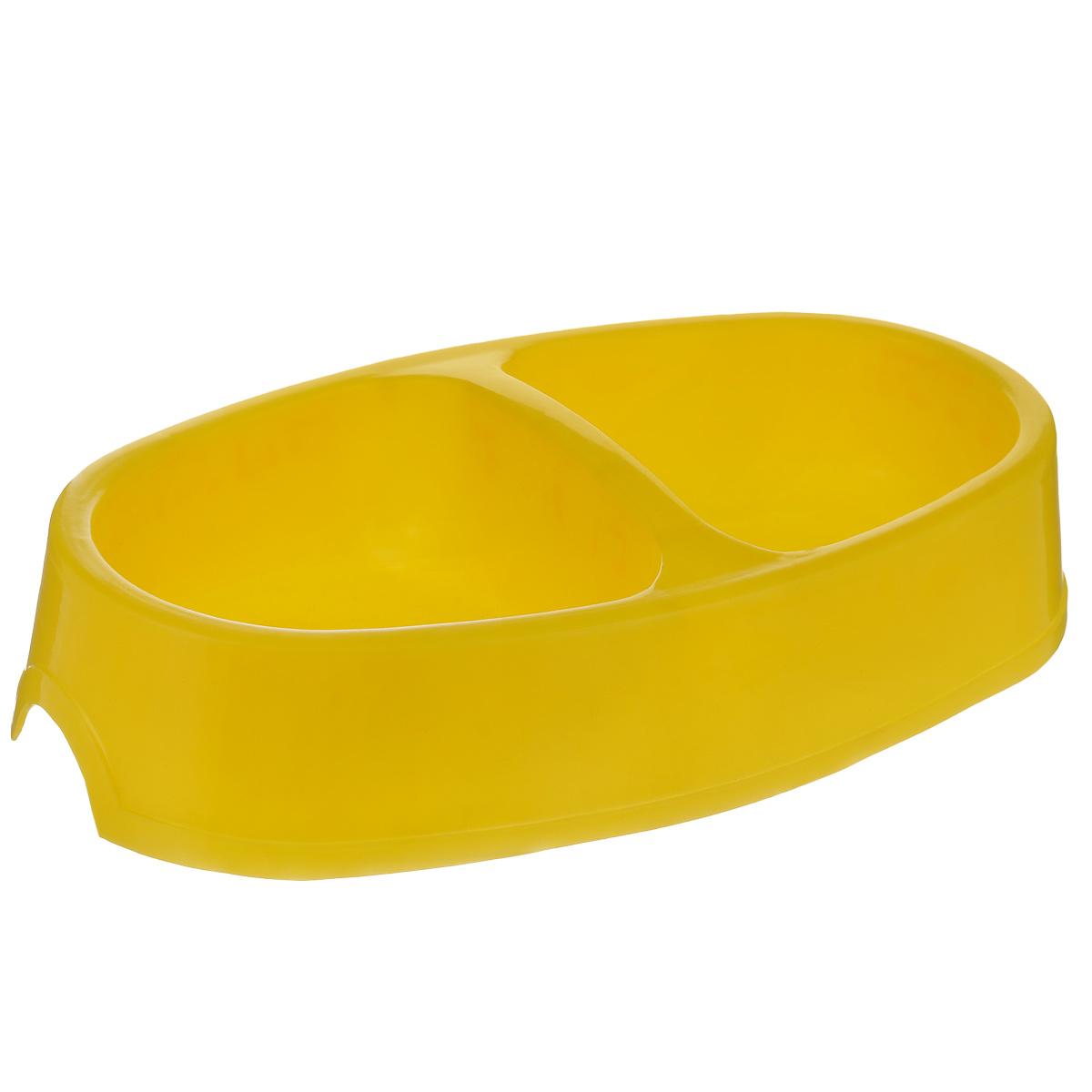 Миска для собак I.P.T.S., двойная, цвет: желтый, 2 х 400 мл650127_желтыйДвойная миска I.P.T.S. - это функциональный аксессуар для собак. Изделие выполнено из высококачественного цветного пластика. В миску можно положить два разных блюда - в каждое отделение. Миска легко моется. Ваш любимец будет доволен! Объем одной емкости: 400 мл. Размер емкости: 12 см х 13 см. Высота миски: 5,5 см.