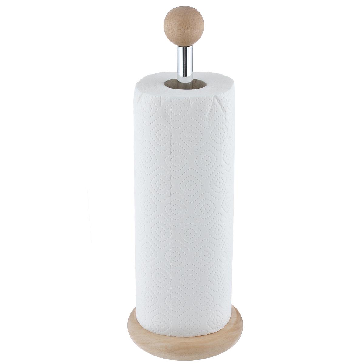 Держатель для бумажных полотенец Kesper9000-9Держатель Kesper, изготовленный из высококачественного дерева, предназначен для бумажных полотенец. Изделие имеет широкое круглое основание. В комплекте - рулон бумажных полотенец. Такой держатель станет полезным аксессуаром в домашнем быту и идеально впишется в интерьер современной кухни.