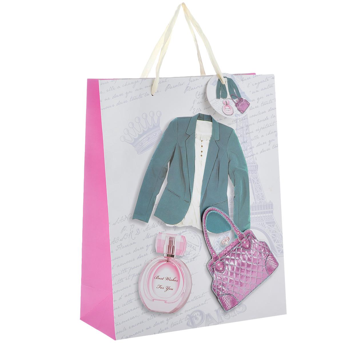 Пакет подарочный Дамский стиль, 26 х 10 х 32 см1022-SB Пакет Дамский стильДизайнерский подарочный пакет Дамский стиль выполнен из плотной бумаги, оформлен изображением зеленого пиджака, парфюма и аппликацией в виде розовой сумочки, покрытой сверкающими блестками. Дно изделия укреплено плотным картоном, который позволяет сохранить форму пакета и исключает возможность деформации дна под тяжестью подарка. Для удобной переноски имеются две атласные ручки. Подарок, преподнесенный в оригинальной упаковке, всегда будет самым эффектным и запоминающимся. Окружите близких людей вниманием и заботой, вручив презент в нарядном праздничном оформлении.