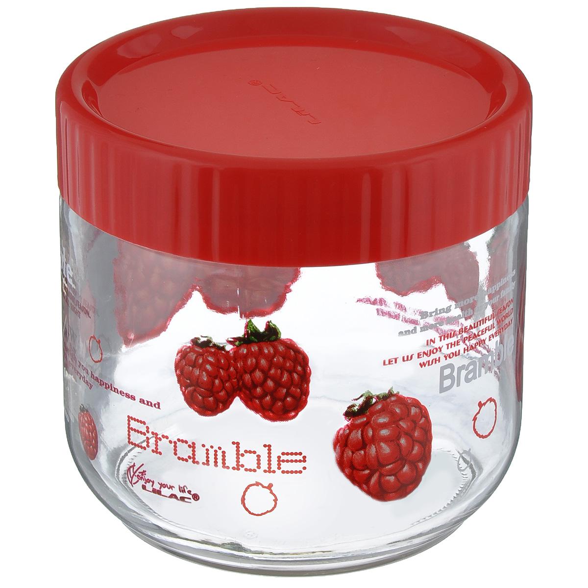 Банка для сыпучих продуктов Lilac, цвет: прозрачный, красный, 750 млLLSE7750Банка для сыпучих продуктов Lilac изготовлена из прочного стекла и декорирована красочным рисунком. Банка оснащена плотно закрывающейся пластиковой крышкой. Благодаря этому внутри сохраняется герметичность, и продукты дольше остаются свежими. Изделие предназначено для хранения различных сыпучих продуктов: круп, чая, сахара, орехов и многого другого. Функциональная и вместительная, такая банка станет незаменимым аксессуаром на любой кухне. Не рекомендуется мыть в посудомоечной машине. Диаметр (по верхнему краю): 9,5 см. Высота банки (без учета крышки): 10,5 см.