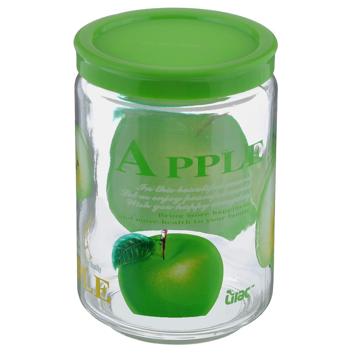 Банка для сыпучих продуктов Lilac, цвет: прозрачный, салатовый, 600 мл32865419,LLS4600Банка для сыпучих продуктов Lilac изготовлена из прочного стекла и декорирована красочным рисунком. Банка оснащена плотно закрывающейся пластиковой крышкой. Благодаря этому внутри сохраняется герметичность и продукты дольше остаются свежими. Изделие предназначено для хранения различных сыпучих продуктов: круп, чая, сахара, орехов и многого другого. Функциональная и вместительная, такая банка станет незаменимым аксессуаром на любой кухне. Не рекомендуется мыть в посудомоечной машине. Диаметр (по верхнему краю): 6 см. Высота банки (без учета крышки): 12,5 см.