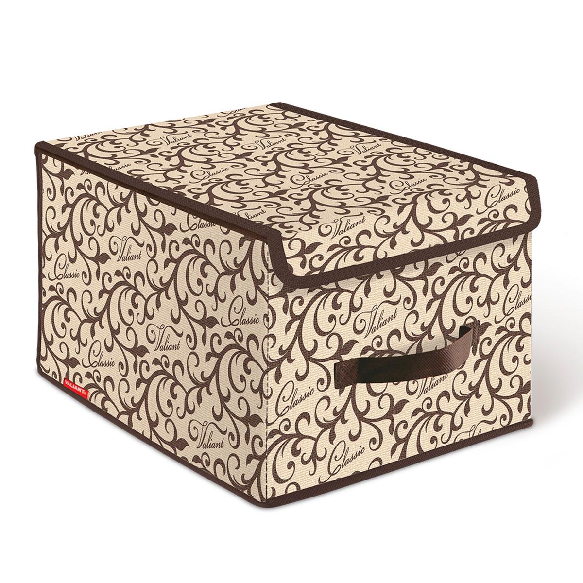 Короб стеллажный Valiant Classic, с крышкой, 30 х 40 х 25 смCL-BOX-LMСтеллажный короб Valiant Classic изготовлен из высококачественного нетканого материала, который обеспечивает естественную вентиляцию, позволяя воздуху проникать внутрь, но не пропускает пыль. Вставки из плотного картона хорошо держат форму. Короб снабжен специальной крышкой, которая фиксируется с помощью липучек. Изделие отличается мобильностью: легко раскладывается и складывается. В таком коробе удобно хранить одежду, белье и мелкие аксессуары. Оригинальный дизайн Classic погружает в романтическую атмосферу. Система хранения в едином дизайне станет стильным акцентом в современном гардеробе.