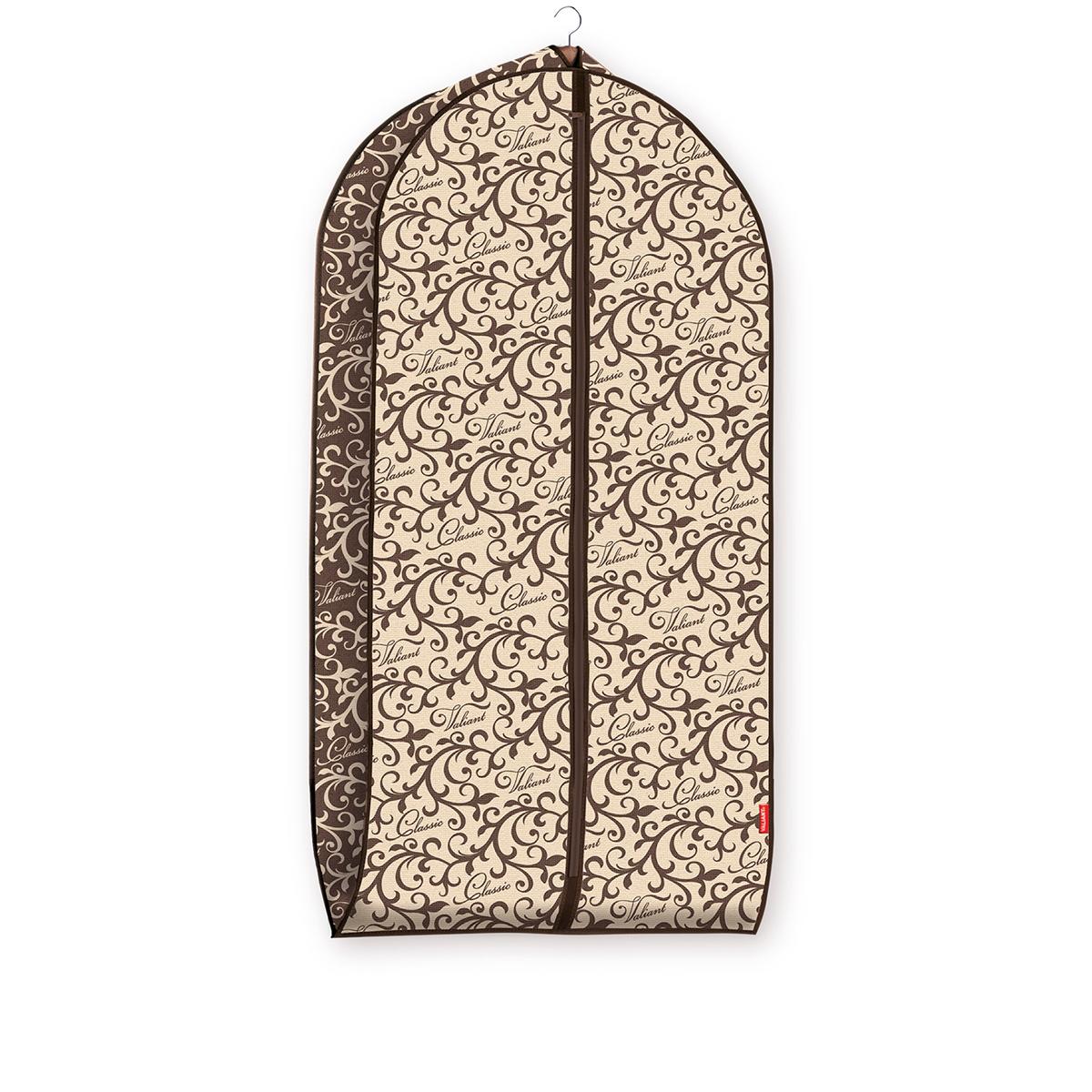 Чехол для одежды Valiant Classic, объемный, 60 х 100 х 10 смCL-CV-100Чехол для одежды Valiant Classic изготовлен из высококачественного нетканого материала, который обеспечивает естественную вентиляцию, позволяя воздуху проникать внутрь, но не пропускает пыль. Чехол очень удобен в использовании. Наличие боковой вставки увеличивает объем чехла, что позволяет хранить крупные объемные вещи. Чехол легко открывается и закрывается застежкой-молнией. Идеально подойдет для хранения одежды и удобной перевозки. Оригинальный дизайн Classic придется по вкусу ценительницам прекрасного. Изысканный благородный узор будет гармонично смотреться в современном классическом интерьере.