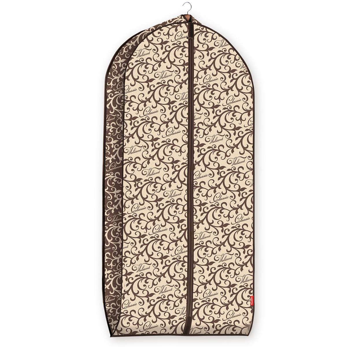 Чехол для одежды Valiant Classic, объемный, 60 см х 137 см х 10 смCL-CV-137Чехол для одежды Valiant Classic изготовлен из высококачественного нетканого материала, который обеспечивает естественную вентиляцию, позволяя воздуху проникать внутрь, но не пропускает пыль. Чехол очень удобен в использовании. Наличие боковой вставки увеличивает объем чехла, что позволяет хранить крупные объемные вещи. Чехол легко открывается и закрывается застежкой-молнией. Идеально подойдет для хранения одежды и удобной перевозки. Оригинальный дизайн Classic придется по вкусу ценительницам прекрасного. Система хранения станет стильным акцентом в современном гардеробе.