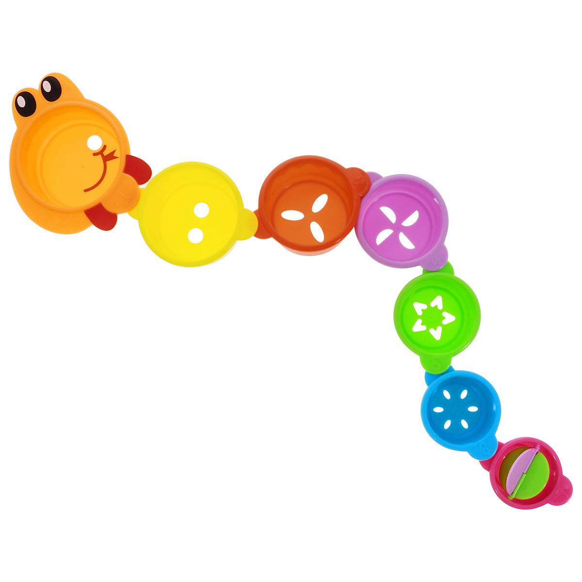 Игрушка для ванной Малышарики ЗмейкаMSH0304-005Игрушка для ванной Малышарики Змейка выполнена в ярком дизайне и из безопасных материалов. Игрушка состоит из семи элементов в виде стаканчиков разных размеров и цветов. Благодаря специальным креплениям, стаканчики с фигурными отверстиями можно соединить в длинную змейку, либо построить высокую пирамидку. Самый маленький стаканчик содержит крышечку-карусель. Игрушка Змейка превратит купание в увлекательную игру, развивая при этом мелкую моторику и концентрацию внимания малыша, а также воображение и творческие способности. Рекомендуемый возраст: 1-3 года.