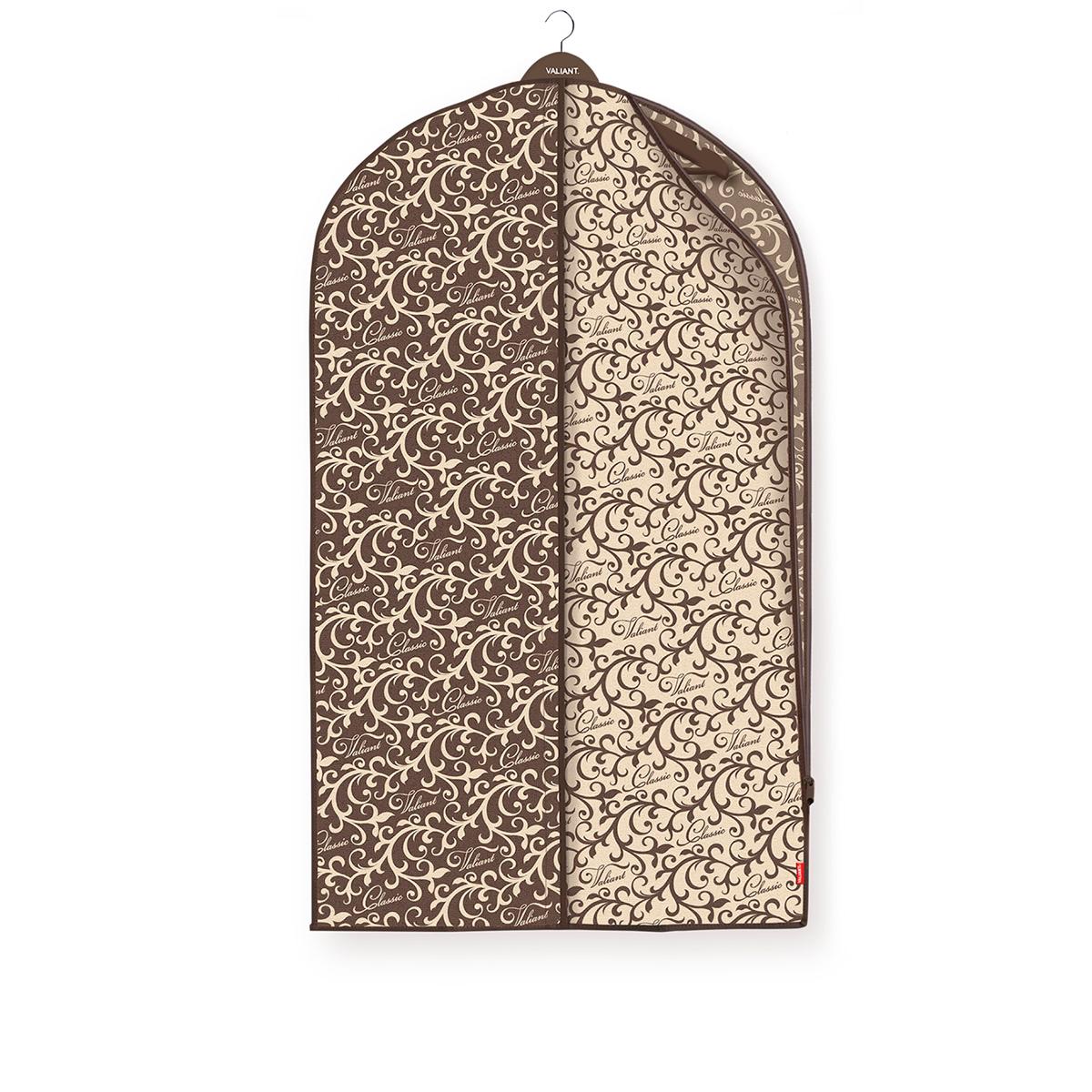 Чехол для одежды Valiant Classic, 60 х 100 смCL-CZ-100Чехол для одежды Valiant Classic изготовлен из высококачественного нетканого материала, который обеспечивает естественную вентиляцию, позволяя воздуху проникать внутрь, но не пропуская пыль. Чехол очень удобен в использовании. Чехол легко открывается и закрывается застежкой-молнией. Идеально подойдет для транспортировки и хранения одежды. Системы хранения в едином дизайне сделают вашу гардеробную красивой и невероятно стильной.