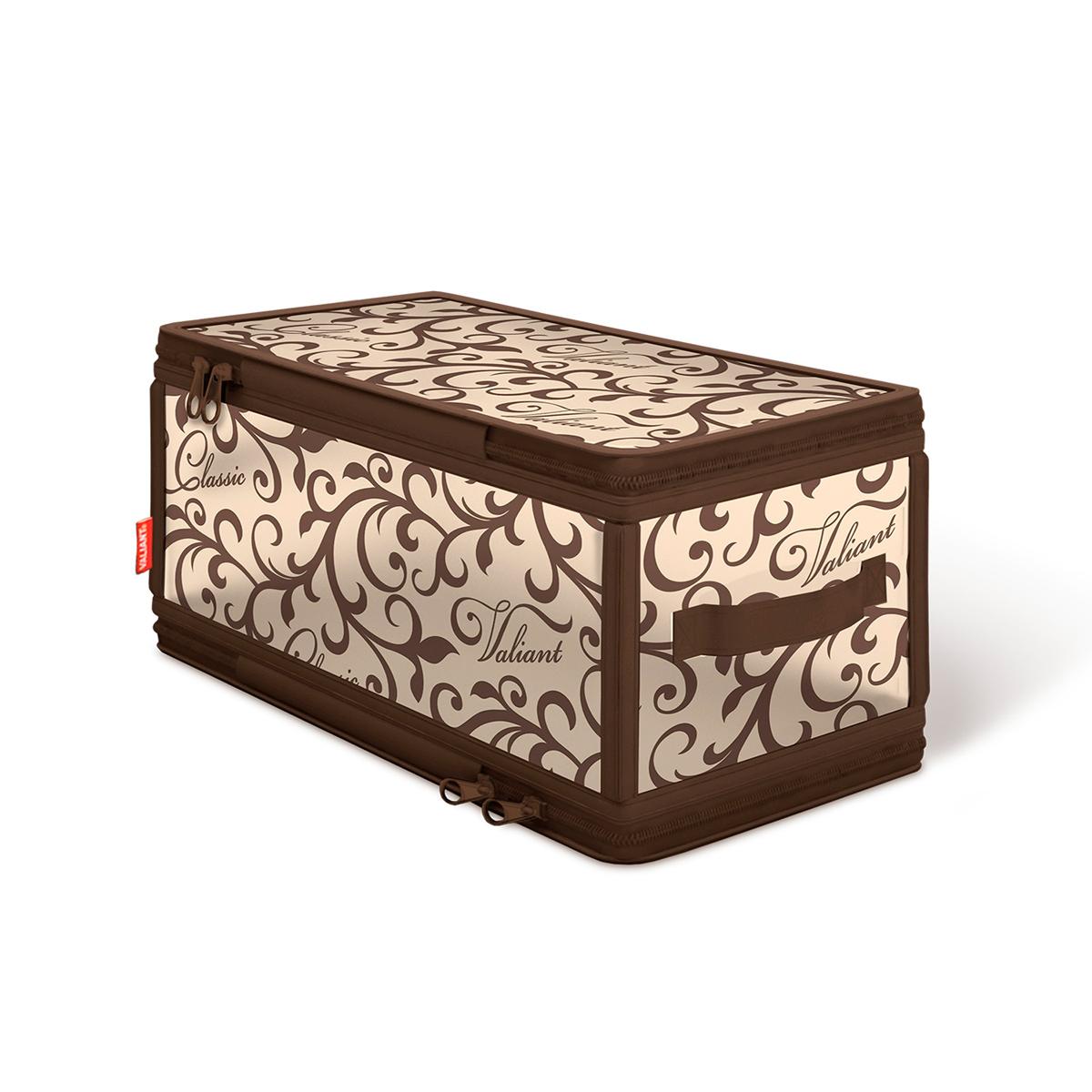 Кофр для хранения Valiant Classic, с застежкой-молнией, 30 см х 15 см х 15 смCL-ZIP-SКофр для хранения Valiant Classic изготовлен из высококачественного полимерного материала и спанбонда. Кофр удобен в использовании: чтобы его сложить, достаточно застегнуть молнию. В сложенном виде занимает минимум места. В таком кофре удобно хранить белье и мелкие аксессуары. Сбоку имеется ручка. Изысканный дизайн Classic Collection придется по вкусу ценителям классического стиля, он гармонично вписывается в современный классический гардероб. Системы хранения в едином дизайне сделают вашу гардеробную красивой и невероятно стильной.