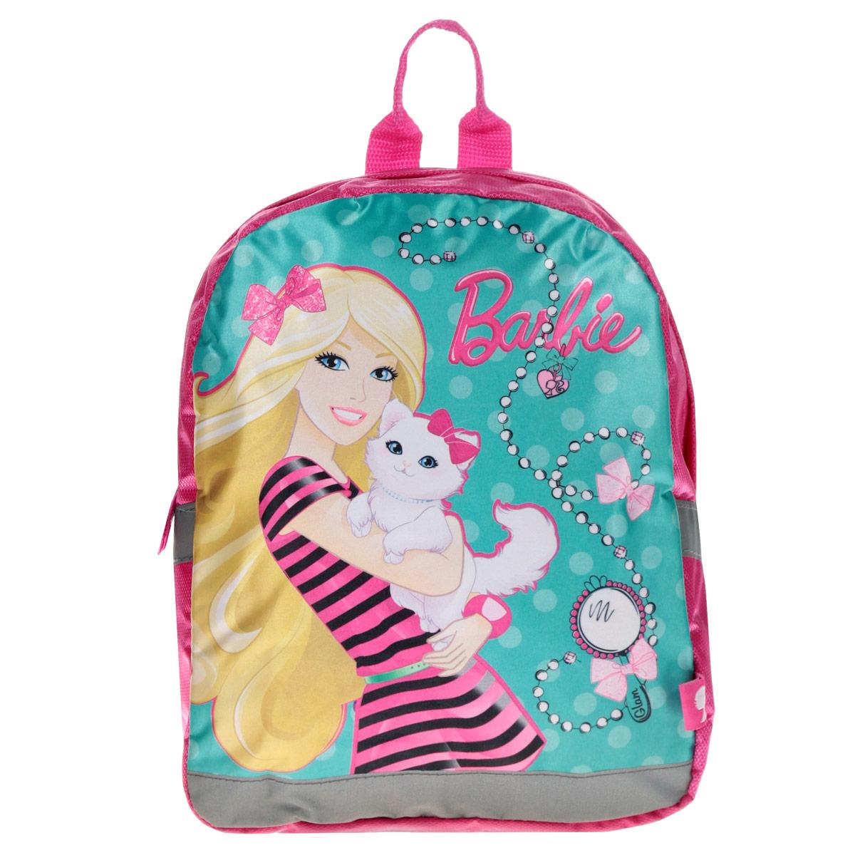 Рюкзак детский Barbie, цвет: розовый. BRAP-UT-541BRAP-UT-541Детский рюкзак Barbie - это незаменимая вещь для прогулок и повседневных дел, в нем можно разместить самые важные вещи. Пусть у вашего ребенка тоже будет свой собственный рюкзак. Выполнен рюкзак из прочных и безопасных материалов. Передняя панель украшена ярким изображением куклы Барби. У модели одно вместительное отделение на застежке-молнии. Широкие лямки можно свободно регулировать по длине в зависимости от роста ребенка. Рюкзак оснащен текстильной ручкой для переноски в руке. Светоотражающие элементы обеспечивают безопасность в темное время суток.
