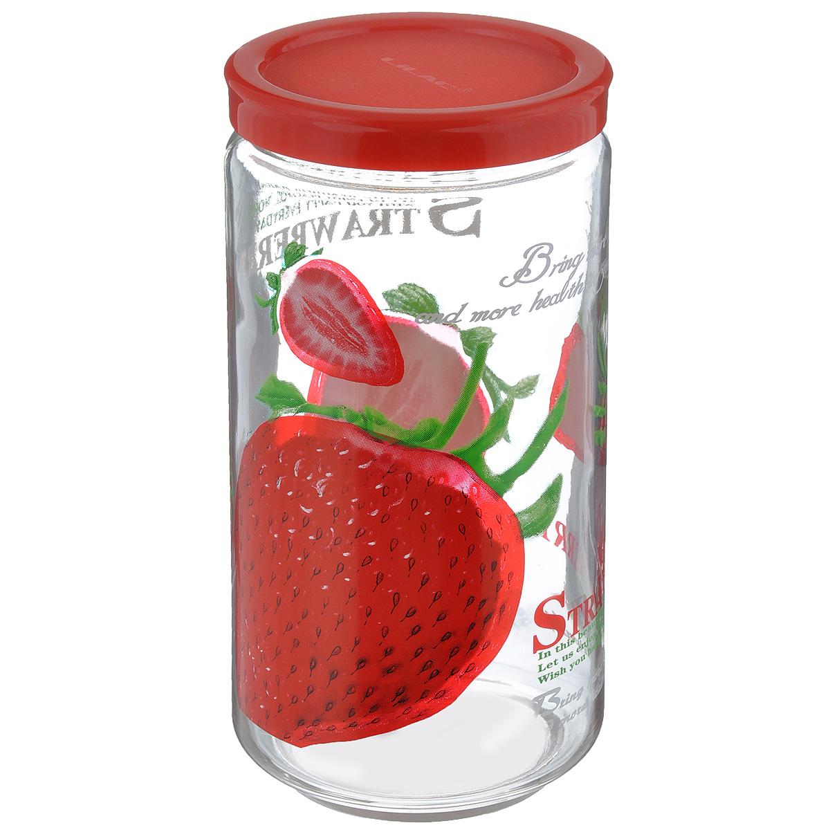 Банка для сыпучих продуктов Lilac, цвет: прозрачный, красный, 800 млLLS4800Банка для сыпучих продуктов Lilac изготовлена из прочного стекла и декорирована красочным рисунком. Банка оснащена плотно закрывающейся пластиковой крышкой. Благодаря этому внутри сохраняется герметичность, и продукты дольше остаются свежими. Изделие предназначено для хранения различных сыпучих продуктов: круп, чая, сахара, орехов и многого другого. Функциональная и вместительная, такая банка станет незаменимым аксессуаром на любой кухне. Не рекомендуется мыть в посудомоечной машине. Диаметр (по верхнему краю): 6 см. Высота банки (без учета крышки): 16,5 см.
