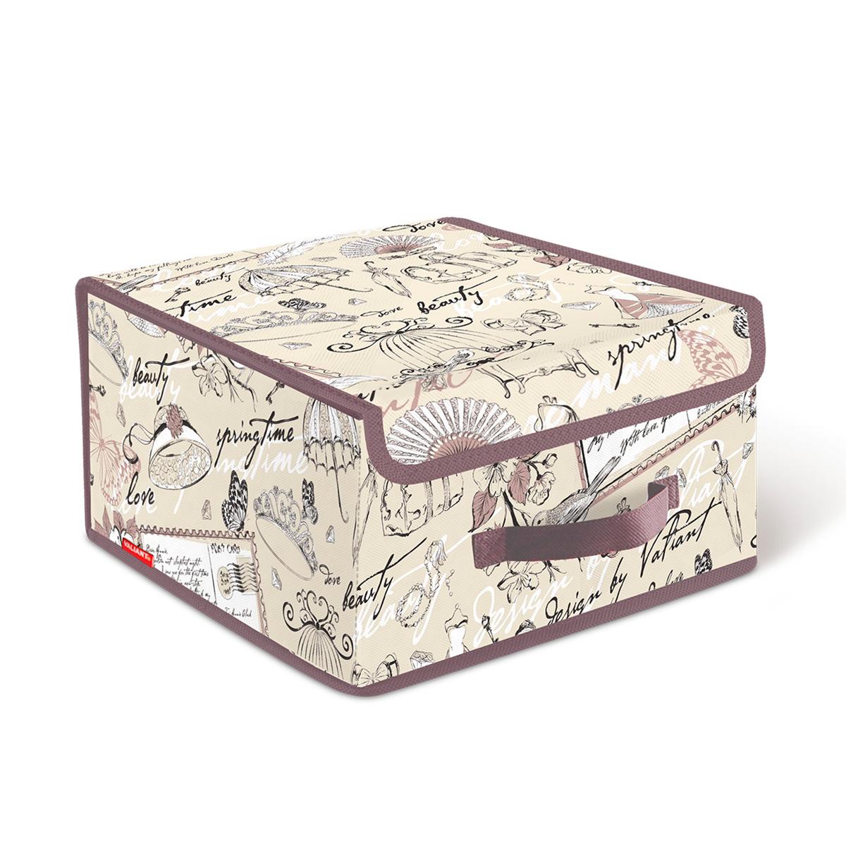 Короб стеллажный Valiant Romantic, с крышкой, 28 см х 30 см х 16 смRM-BOX-LSСтеллажный короб Valiant Romantic изготовлен из высококачественного нетканого материала, который обеспечивает естественную вентиляцию, позволяя воздуху проникать внутрь, но не пропускает пыль. Вставки из плотного картона хорошо держат форму. Короб снабжен специальной крышкой, которая фиксируется с помощью липучек. Изделие отличается мобильностью: легко раскладывается и складывается. В таком коробе удобно хранить одежду, белье и мелкие аксессуары. Красивый авторский дизайн прекрасно впишется в интерьер. Система хранения Romantic создаст трогательную атмосферу романтического настроения в женском гардеробе. Оригинальный дизайн придется по вкусу ценительницам эстетичного хранения. Системы хранения в едином дизайне сделают вашу гардеробную изысканной и невероятно стильной.
