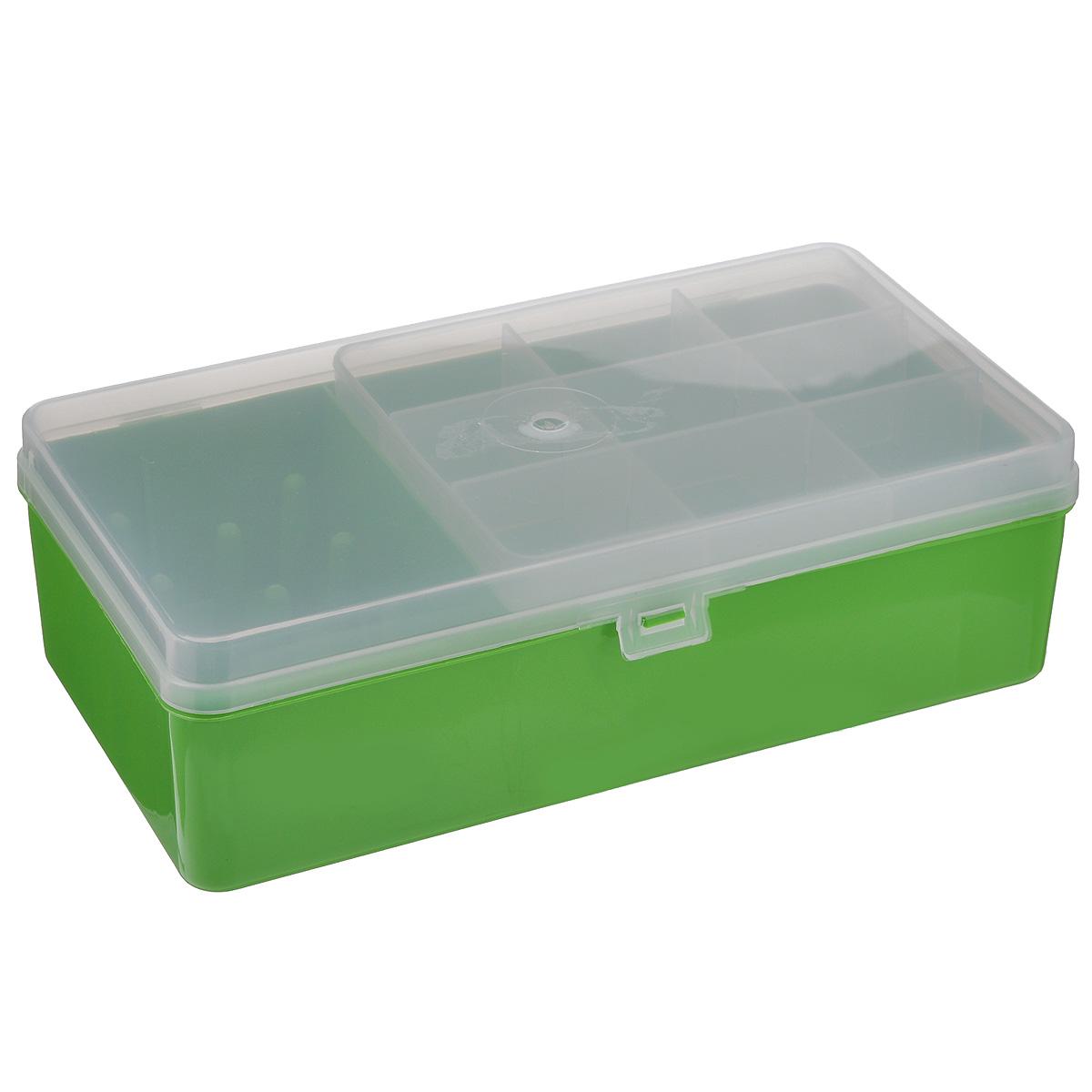 Коробка для мелочей Trivol, двухъярусная, цвет: прозрачный, салатовый, 21,2 см х 12,2 см х 6,7 смТИП-6_салатовыййКоробка Trivol изготовлена из высококачественного пластика. В ней есть отделение для катушек, а также двухъярусное отделение. Верхний ярус представляет собой съемное отделение, в котором содержится 9 прямоугольных ячеек. Нижний ярус выполнен в виде отделения прямоугольной формы без ячеек. Прозрачная крышка позволяет видеть содержимое коробки, которая прекрасно подойдет для хранения швейных принадлежностей, рыболовных снастей, мелких деталей и других бытовых мелочей. Удобный и надежный замок-защелка обеспечивает надежное закрывание крышки. Коробка легко моется и чистится. Такая коробка поможет держать вещи в порядке. Размеры отделений: Размер большого отделения: 13,5 см х 10,5 см х 5,3 см; Размер малого отделения: 7 см х 10,5 см х 5,3 см.