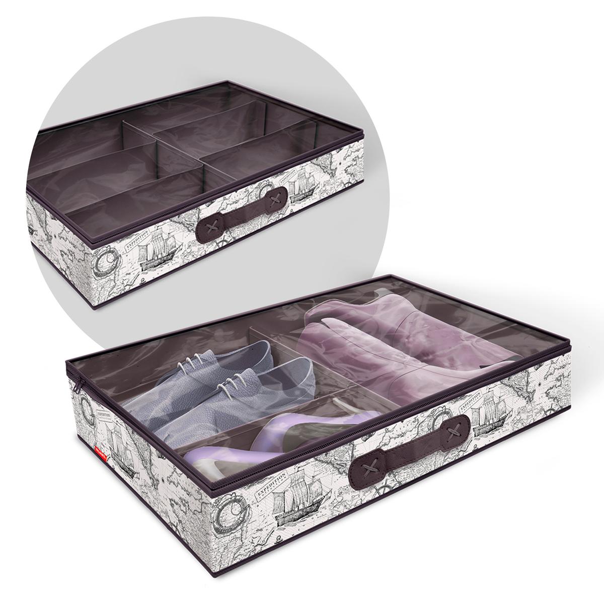 VAL EX-SM6 Кофр для хранения обуви со съемными перегородками, 6 секций, 60*40*12 см, EXPEDITION