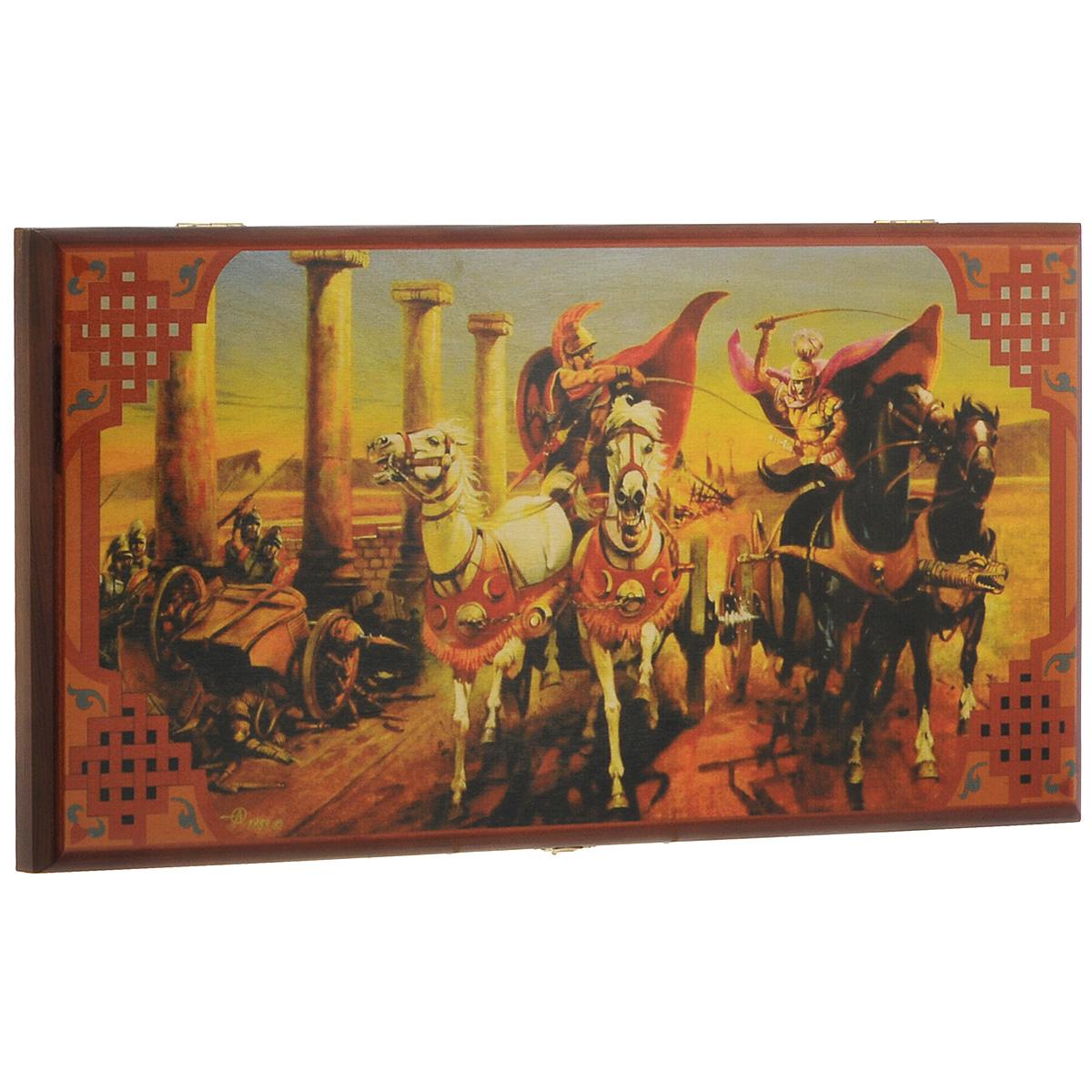 Нарды малые Perfecto Гонки на колесницах, размер: 40х40х4 см. 190s190sНарды Гонки на колесницах представляют собой деревянный кейс, закрывающийся на металлический замок. Внешняя поверхность кейса оформлена оригинальным рисунком и дополнительным полем для игры в шашки. Внутренняя часть кейса - игровое поле для игры в нарды. В набор входят два игральных кубика и деревянные шашки. Цель игры состоит в том, чтобы сначала привести шашки в свой дом (мешая в тоже время сделать это сопернику), а затем, когда это удалось сделать, снять их с доски быстрее соперника. Побеждает тот, кто первым снял свои шашки. Нарды - древняя восточная игра. Родина этой игры неизвестна, однако, известно, что люди играют в эту игру уже более 7000 лет. На игровой доске для нард все кратно шести и имеет связь со временем. 24 пункта представляют 24 часа, 30 шашек представляют 30 дней в месяце, 12 пунктов на каждой стороне доски символизируют 12 месяцев. Нарды - это отличный подарок, который понравится каждому и подойдет к любому поводу....