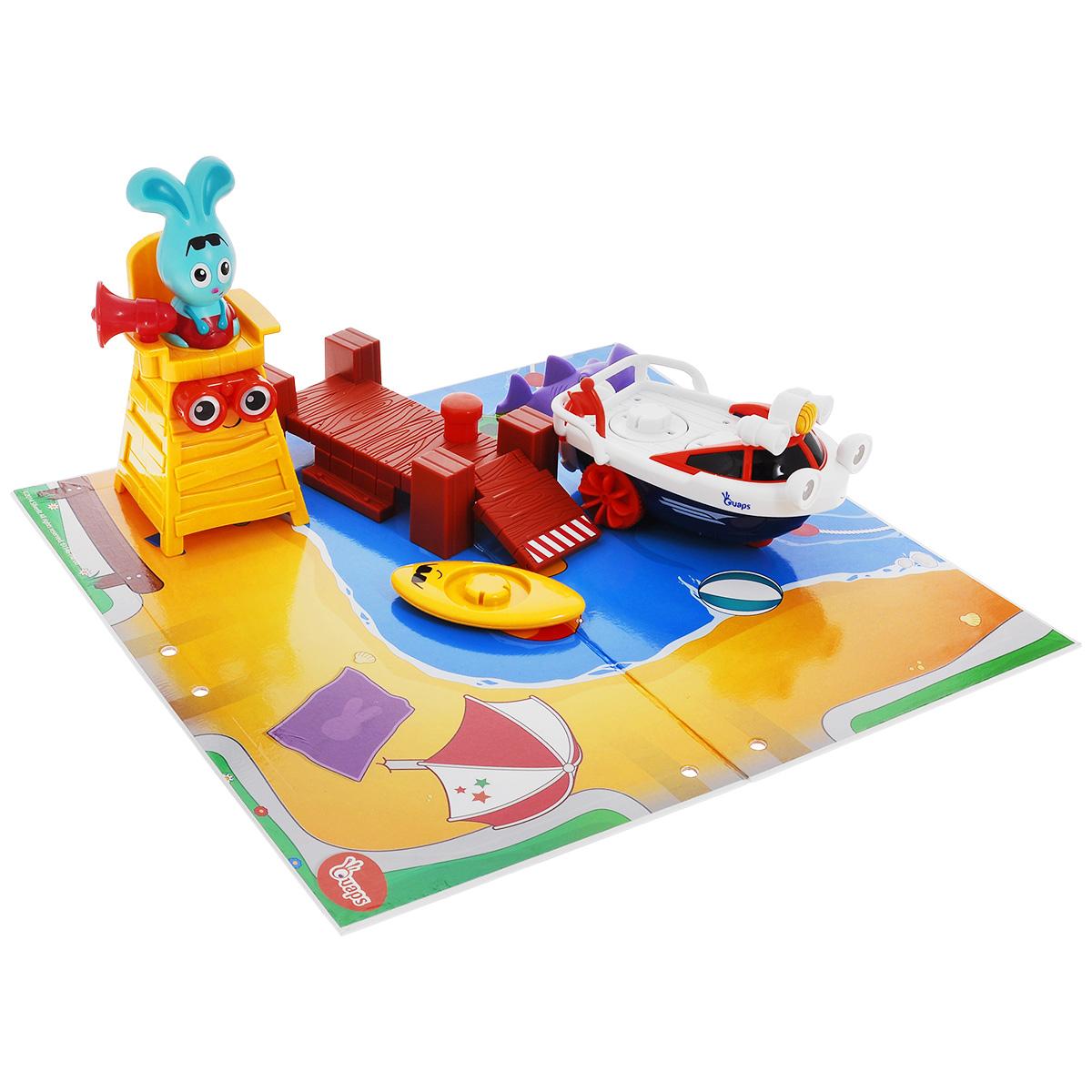 Игровой набор Quaps Спасатель Бани61146Игровой набор Quaps Спасатель Бани - это прекрасный подарок для малыша старше 18 месяцев. Набор выполнен в ярких красках и изготовлен из качественных материалов. Набор включает в себя пирс, игровой мат, спасательный катер, доску для серфинга, акулу, спасательную вышку, фигурку Бани. Бани распевает песенки сидя на спасательной вышке, при звуках сирены он кидается на помощь в воду на своем катере. Сирена включается при нажатии на рупор. Также Бани может отправиться на помощь на доске для серфинга. При нажатии на бинокль – Бани выпрыгнет из кресла вышки и отправится на помощь. Можно разместить Бани и его друзей на спасательном катере и запустить его (возможно играть на ровной поверхности или воде). Для запуска необходимо потянуть за спасательный круг. Ваш ребенок часами будет играть с этим набором, придумывая различные истории. Порадуйте его таким замечательным подарком! Рекомендуется докупить2 батарейки напряжением 1,5V типа ААА (товар комплектуется...