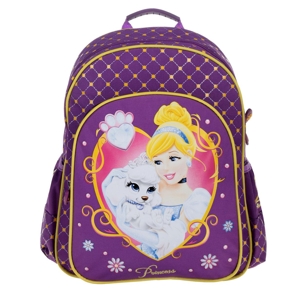 Рюкзак школьный Disney Princess Королевские питомцы, цвет: фиолетовый. 2256922569Школьный рюкзак Disney Princess Королевские питомцы станет надежным спутником в получении знаний. Он выполнен из износостойкого материала фиолетового цвета и содержит одно отделение, закрывающееся на застежку-молнию с двумя бегунками. Внутри находятся фиксаторы для тетрадей и учебников и большой карман-сеточка. На лицевой стороне расположен большой накладной карман, закрывающийся на застежку-молнию, который оформлен изображением принцессы с белой собачкой на руках. Бегунки на застежках дополнены прорезиненными держателями в виде сердечек с отпечатком лапки. По бокам рюкзака расположены внешние карманы, стянутые сверху резинками. Усиленная спинка EVA комфортно прилегает и оберегает от неприятного взаимодействия с твердыми предметами, которые могут переноситься в рюкзаке. Широкие плечевые ремни имеют толстую и мягкую прокладку и равномерно распределяют нагрузку на плечевой пояс. Лямки регулируются по длине. Рюкзак оснащен удобной гибкой ручкой для переноски в руке....