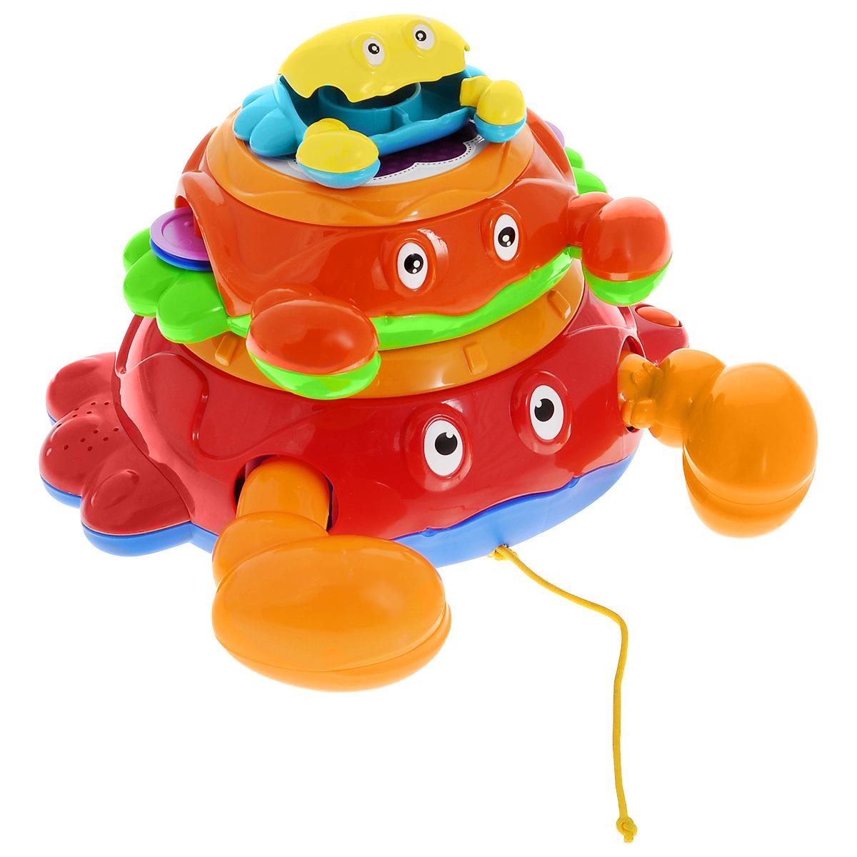 Музыкальная игрушка Малышарики КрабикиMSH0303-006Музыкальная игрушка Малышарики Крабики выполнена в ярком дизайне из высококачественных безопасных материалов. Игрушка представляет собой набор из трех красочных крабиков с различными звуками. Самый большой краб оснащен кнопками для смены мелодий, а также погремушкой и дудкой в виде его клешней. Крабик поменьше выполнен в форме барабана-бубна. Набор музыкальных крабиков подарит ребенку радость и хорошее настроение. Играя, малыш знакомится с цветами и звуками, развивает ловкость, мелкую моторику, мышление и творческие способности. Рекомендуемый возраст: 1-3 года. Для работы игрушки необходимы 3 батарейки напряжением 1,5V типа АА (не входят в комплект).