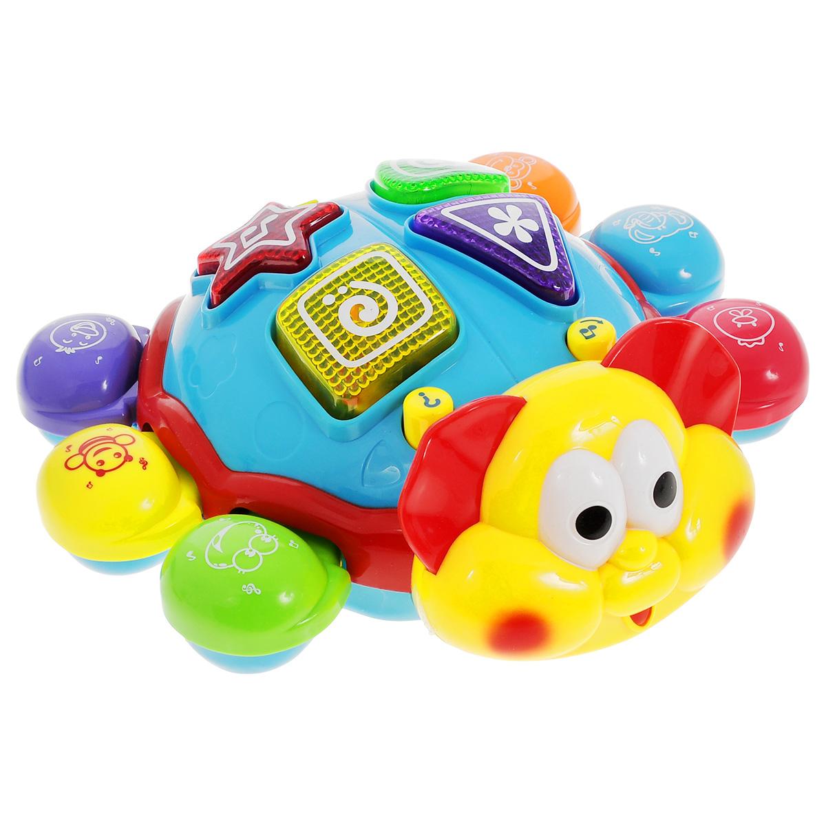 Развивающая игрушка Малышарики Мудрый жукMSH0303-019Развивающая игрушка Малышарики Мудрый жук выполнена в ярком дизайне из высококачественных и безопасных для детской игры материалов. Играя с жуком, малыш весело и с пользой проведет время: можно слушать разные мелодии, угадывать животных по звуками или учить цвета и геометрические фигуры. Каждая лапка жука с изображением различных животных оснащена звуками, на спинке находятся кнопки в виде геометрических фигур, а также кнопки с переключением режимов. Игрушка Мудрый жук развивает мелкую моторику, слуховое восприятие, логическое мышление и концентрацию внимания. Рекомендуемый возраст: 1- 3 года. Для работы игрушки необходимы 3 батарейки напряжением 1,5V типа АА (не входят в комплект). Уважаемые клиенты! Обращаем ваше внимание на возможные изменения в дизайне некоторых деталей товара. Поставка осуществляется в зависимости от наличия на складе.