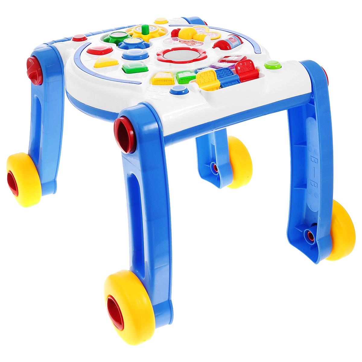 Развивающая игрушка-ходунки Малышарики Умный крохаMSH0303-013Развивающая игрушка-ходунки Малышарики Умный кроха изготовлена из безопасных материалов в ярком дизайне. Игрушка представляет собой устройство, позволяющее ребенку, который еще не умеет ходить, перемещаться без помощи взрослых. Игрушка не только поможет вашему малышу сделать первые шаги, но и развлечет его во время передвижения благодаря встроенной музыкальной панели со световыми эффектами. Вместе с такой игрушкой малыш легко научится ходить, считать и различать цвета предметов, а также узнает названия геометрических фигур. Многофункциональная игрушка Умный кроха развивает мелкую моторику и слуховое восприятие малыша, а также его логическое мышление и концентрацию внимания. Рекомендуемый возраст: 1-3 года. Для работы игрушки необходимы 3 батарейки напряжением 1,5V типа АА (не входят в комплект).
